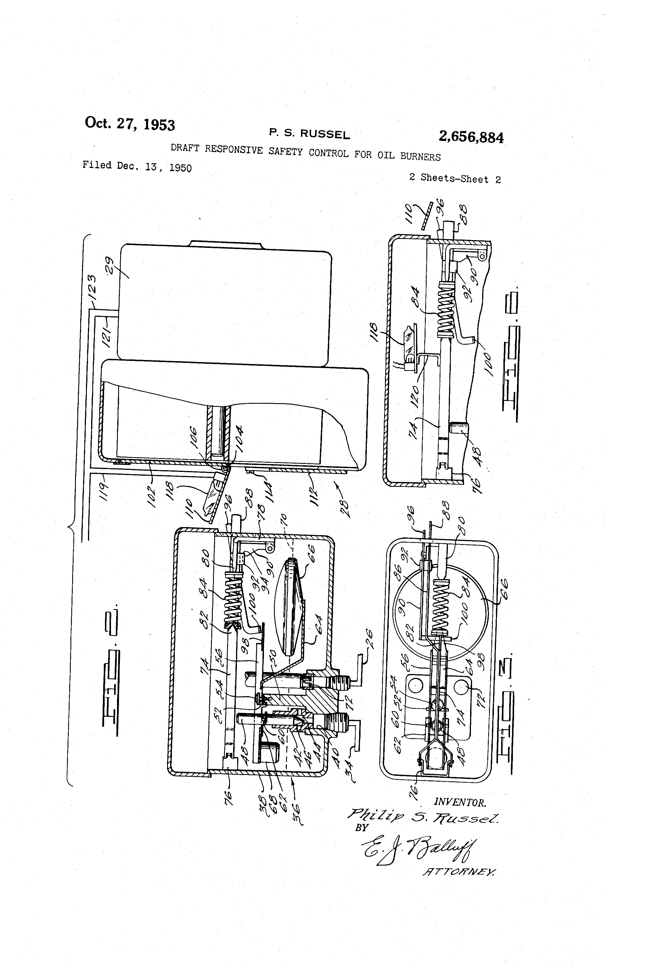 patent us2656884 - draft responsive safety control for oil burners
