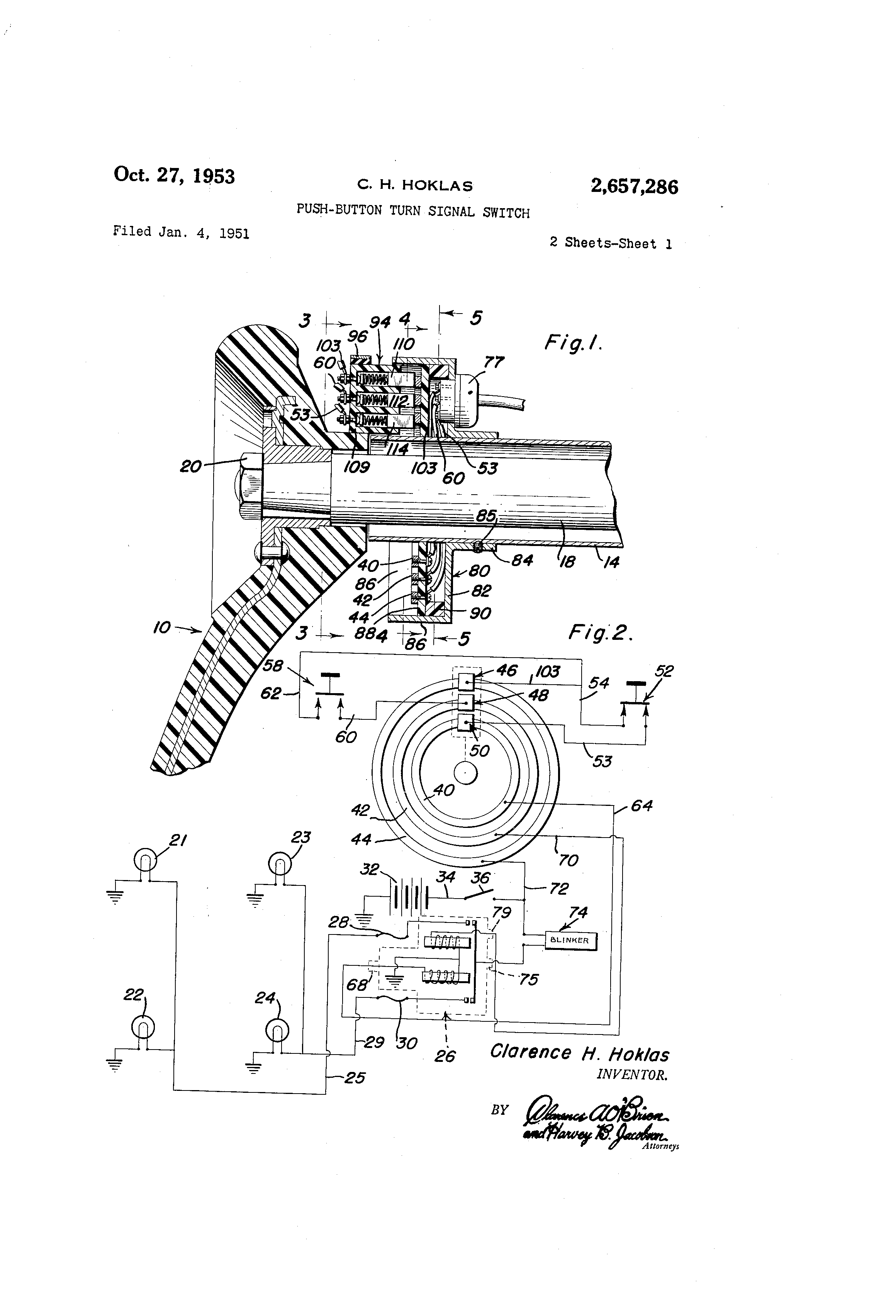 patent us2657286 - push-button turn signal switch