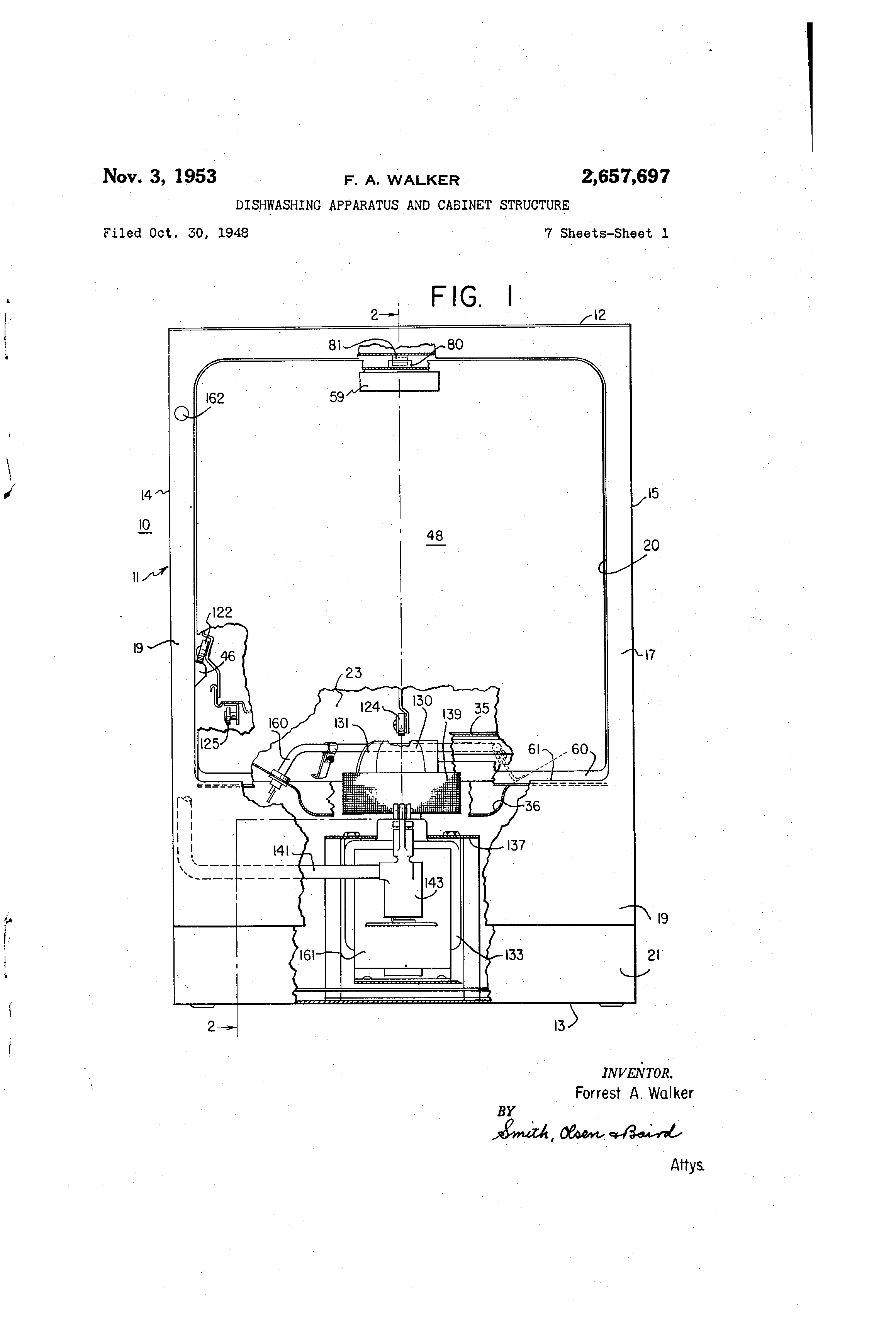Patent Us2657697 Dishwashing Apparatus And Cabinet Structure Eih Current Relay Drawing