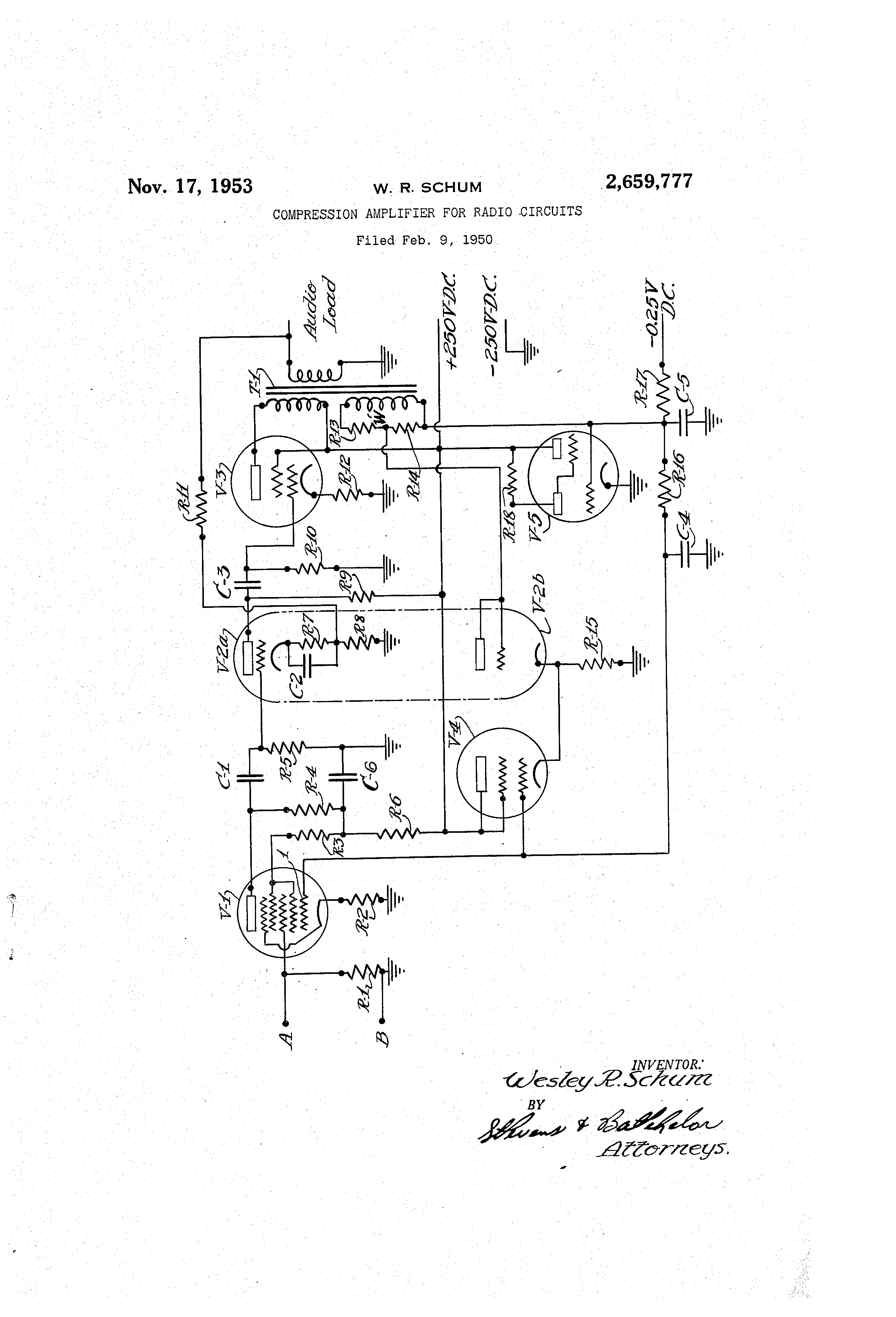 Brevet Us2659777 Compression Amplifier For Radio Circuits Google Input Signal Circuit Amplifiercircuit Patent Drawing