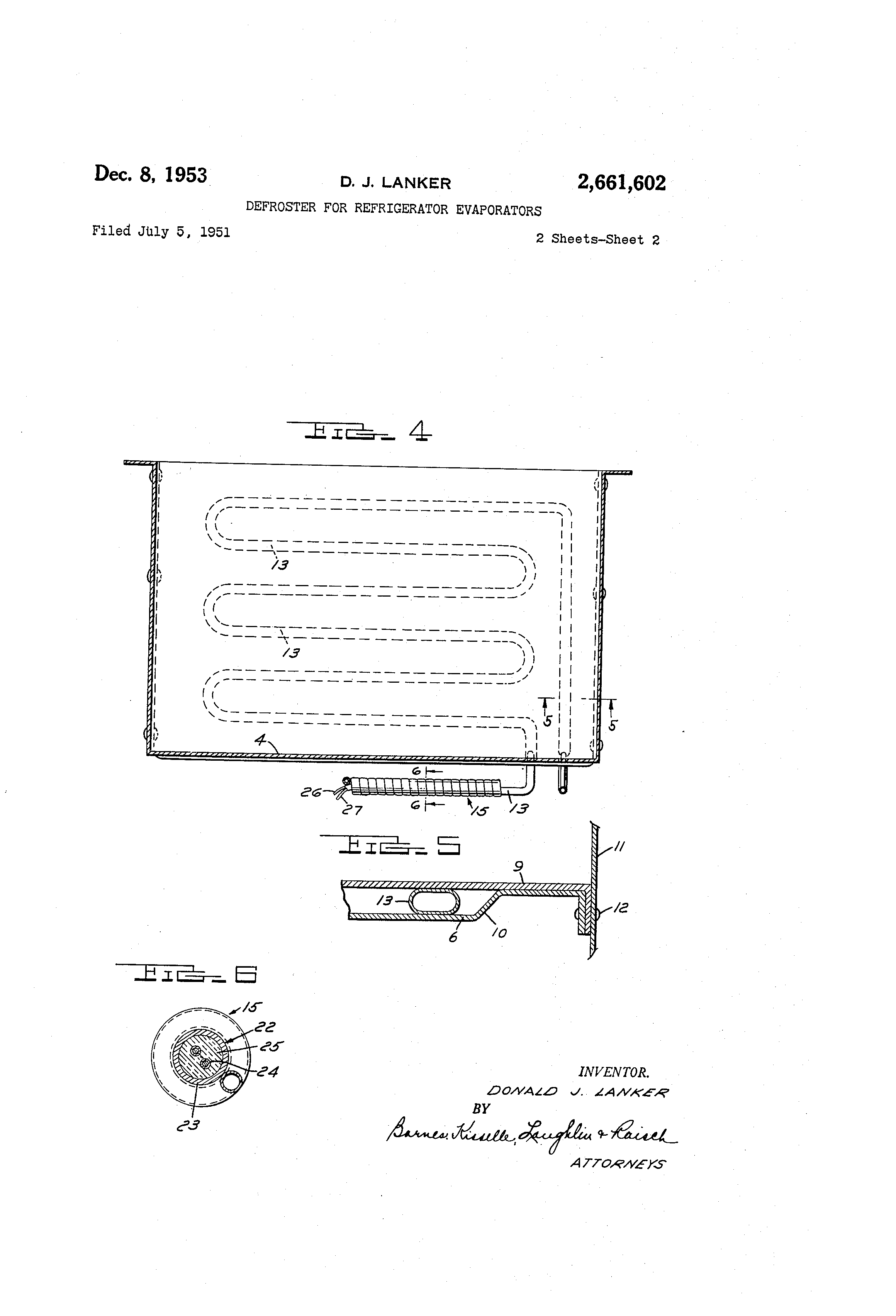 Patent US2661602 - Defroster for refrigerator evaporators - Google on
