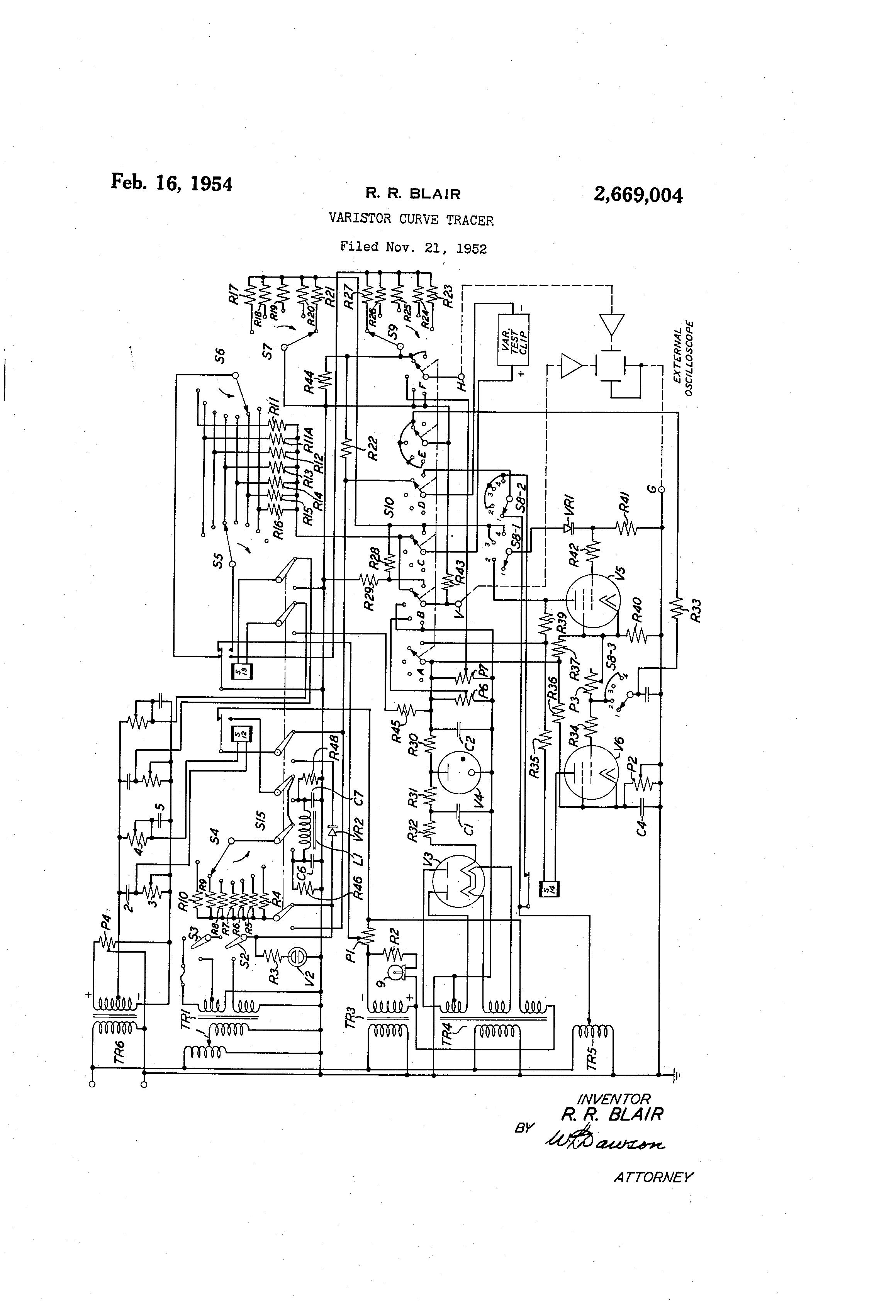 Brevet Us2669004 Varistor Curve Tracer Google Brevets Circuit Oscilloscope Patent Drawing