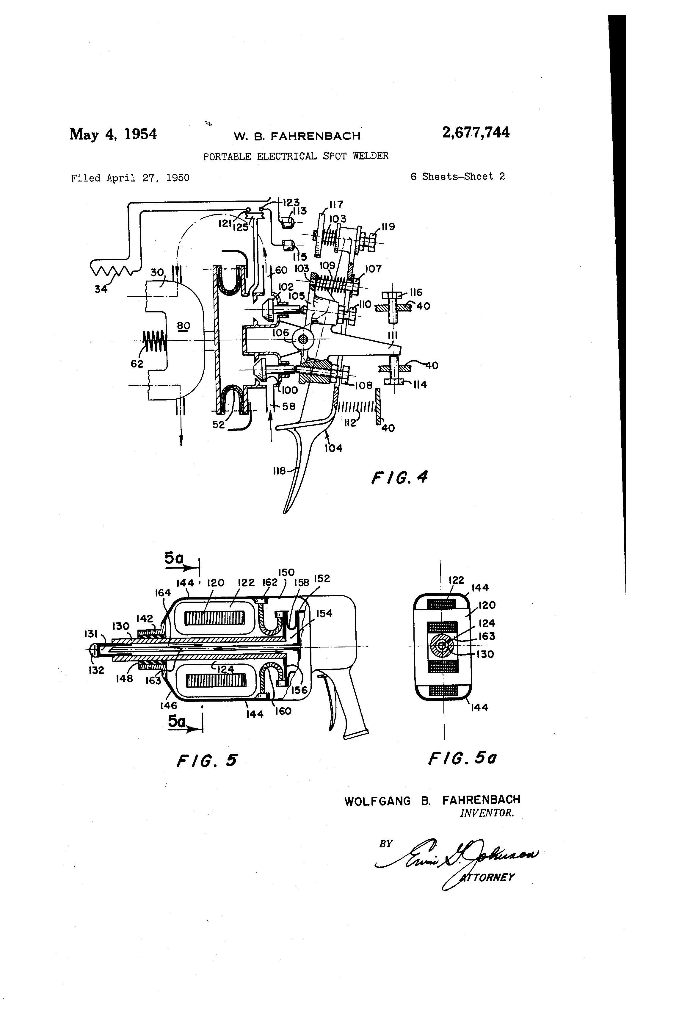 Brevet Us2677744 Portable Electrical Spot Welder Google Brevets Welding Diagram Patent Drawing