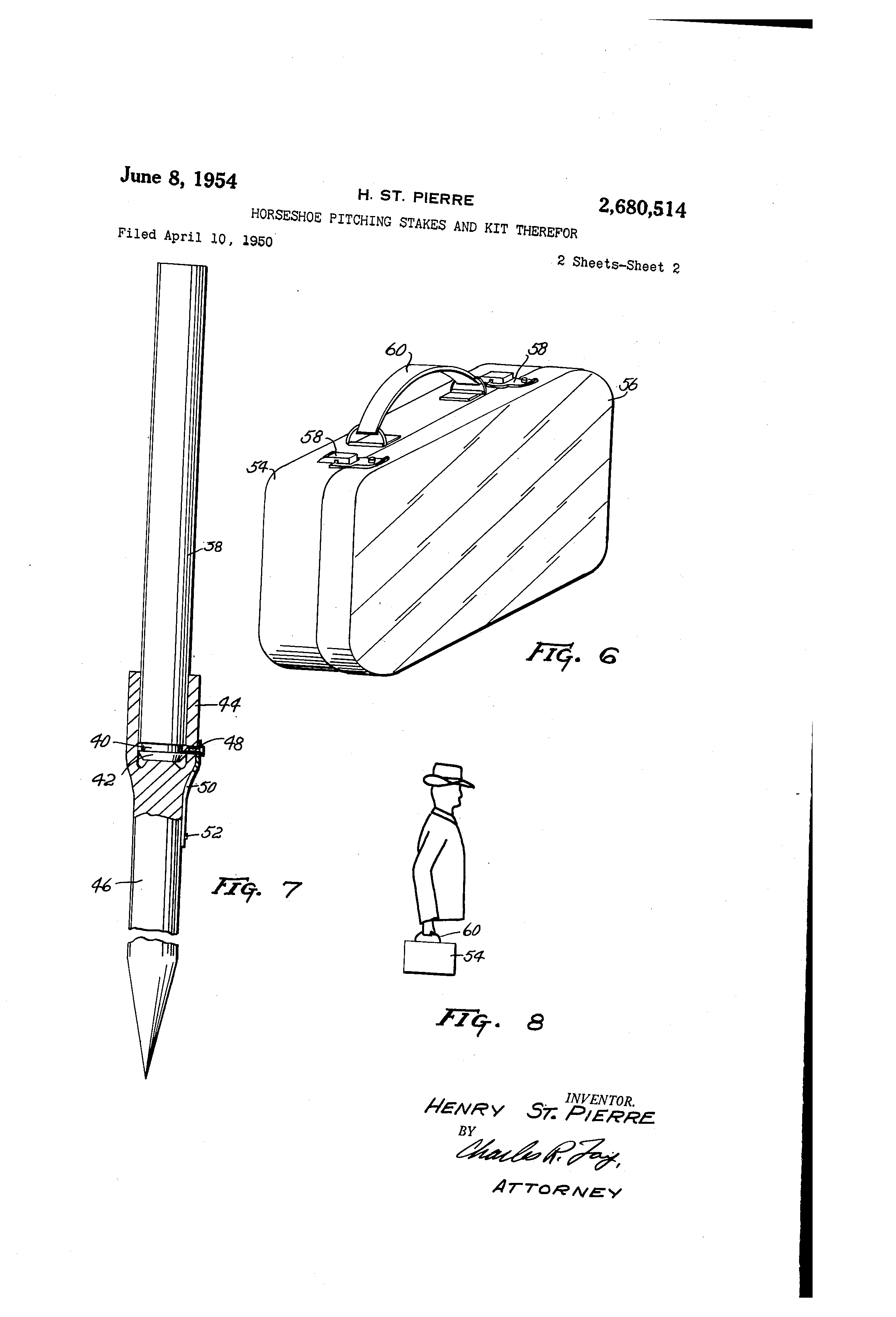 patent us2680514 - horseshoe pitching stakes and kit therefor