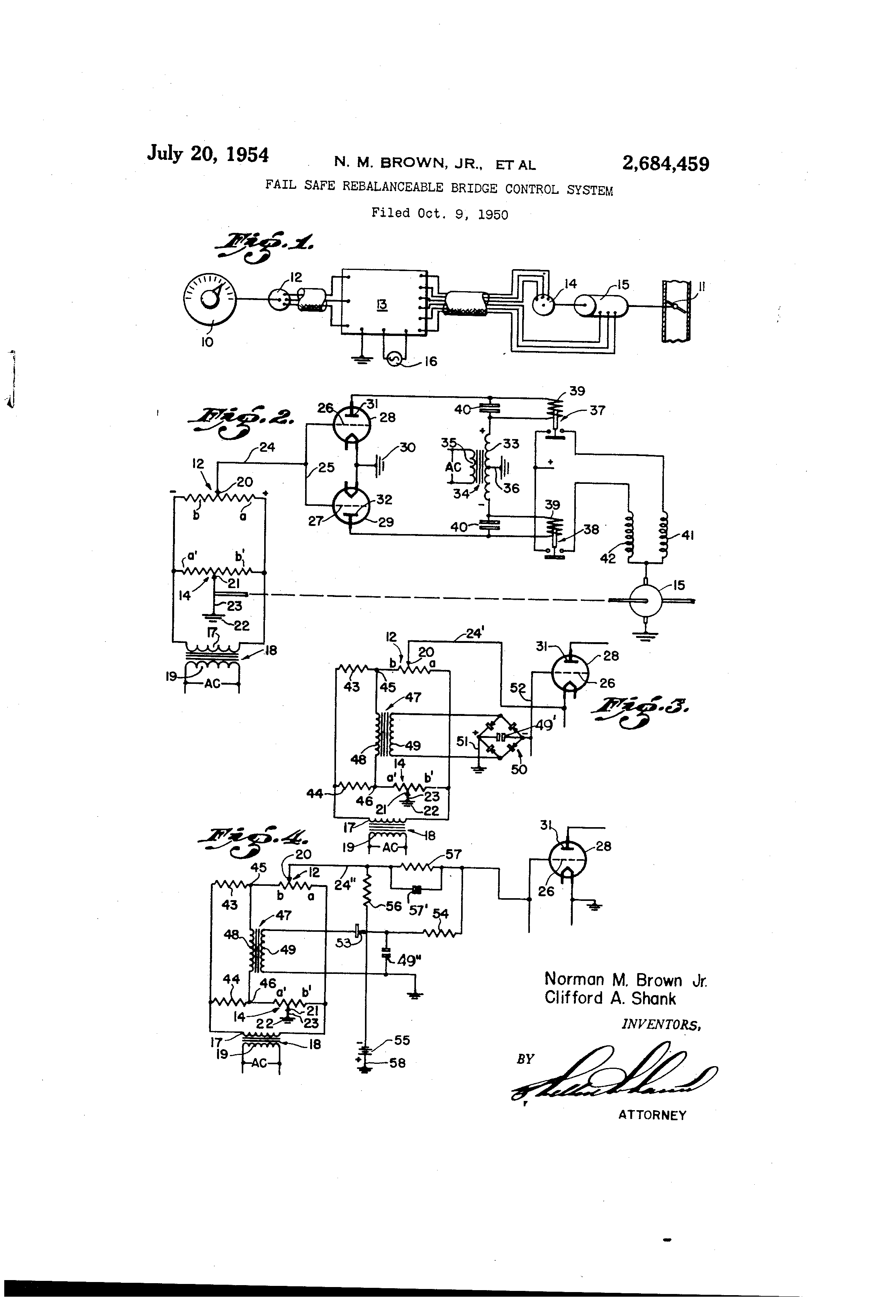Patent Us2684459 Fail Safe Rebalanceable Bridge Control System Wheatstone Wiring Diagram Drawing