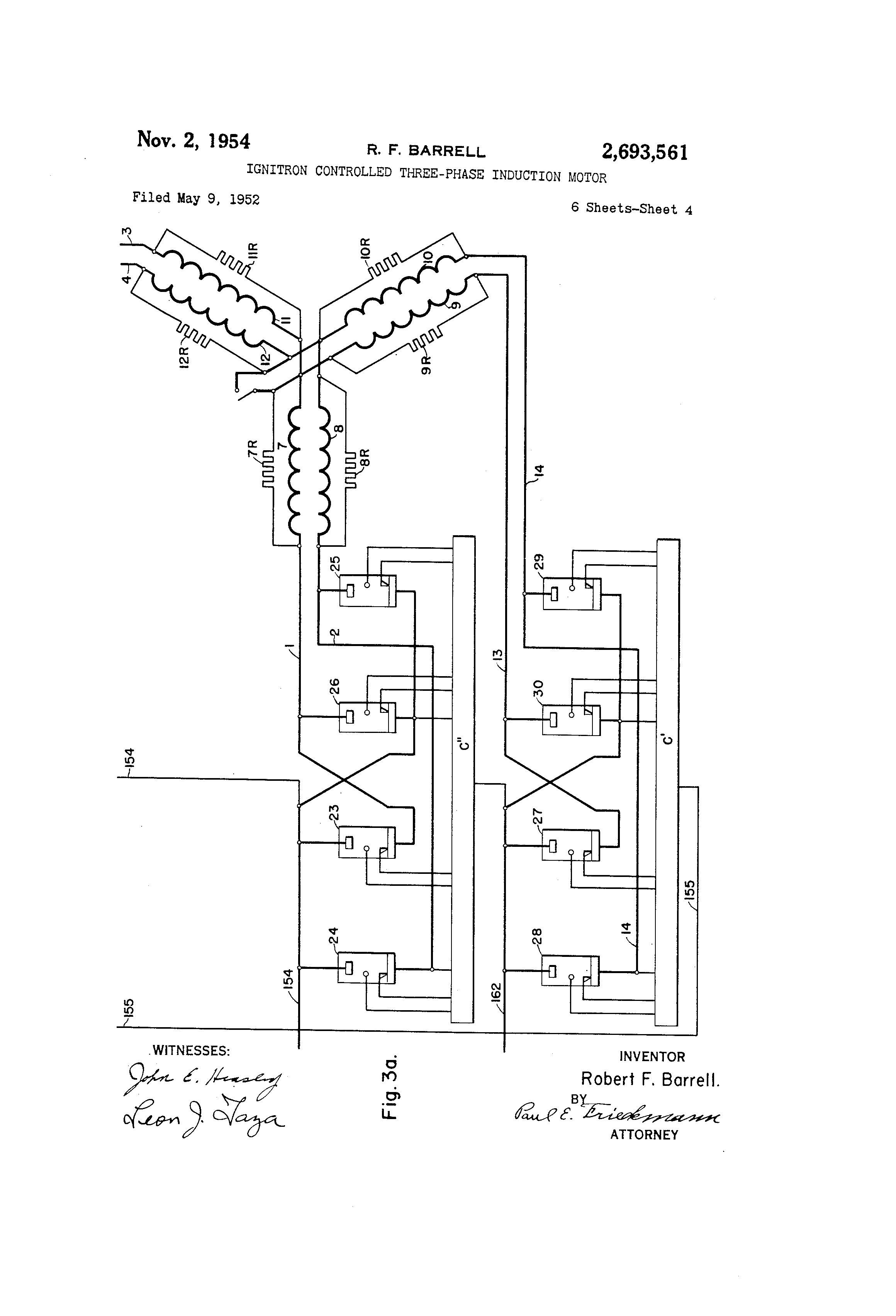 Patent us2693561 ignitron controlled three phase for Three phase induction motor