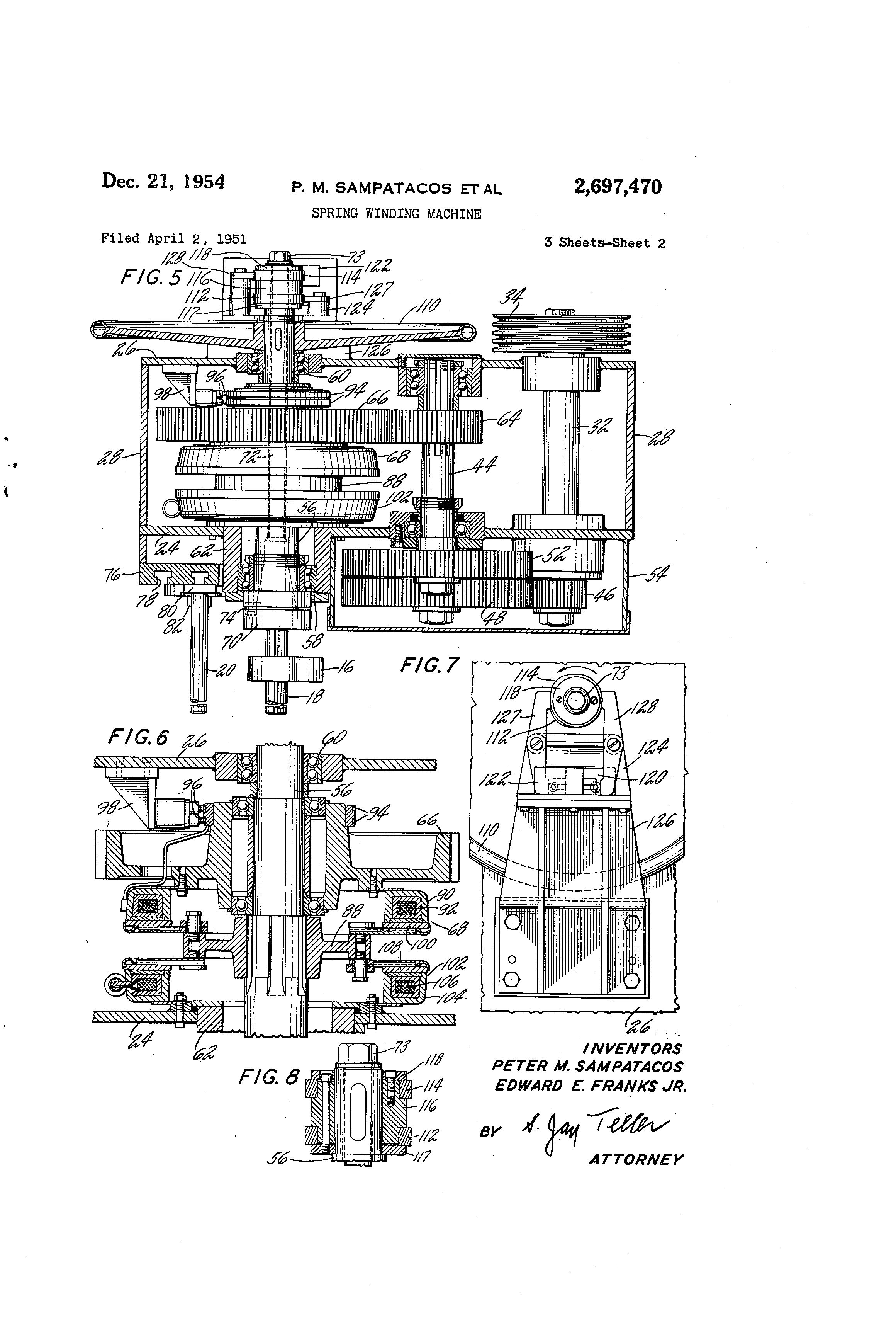 Patent Us2697470 Spring Winding Machine Google Patents Thread Ge Motorgtcutlerhammer Switch Wiring Drawing