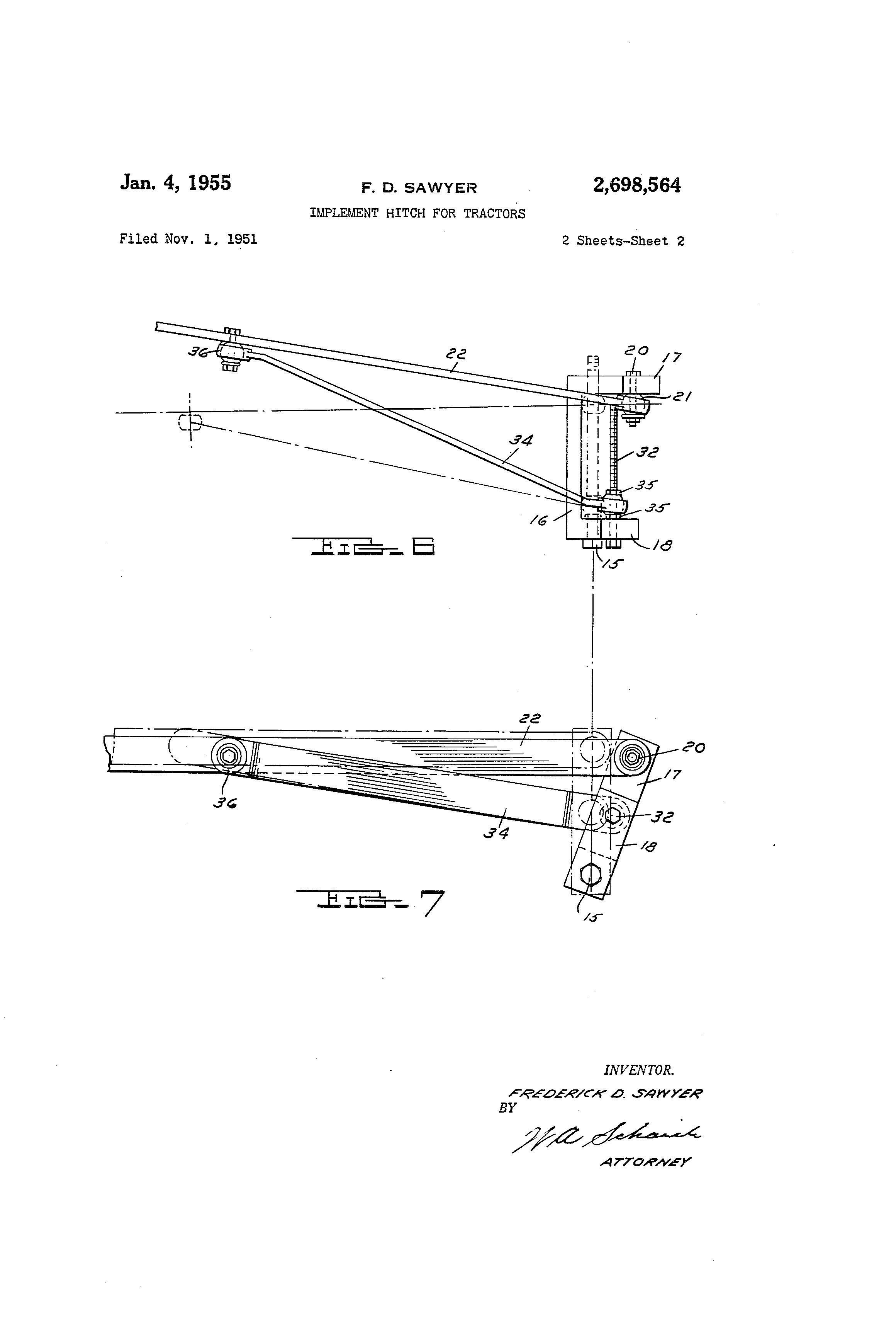 Patent Us2698564 Implement Hitch For Tractors Google