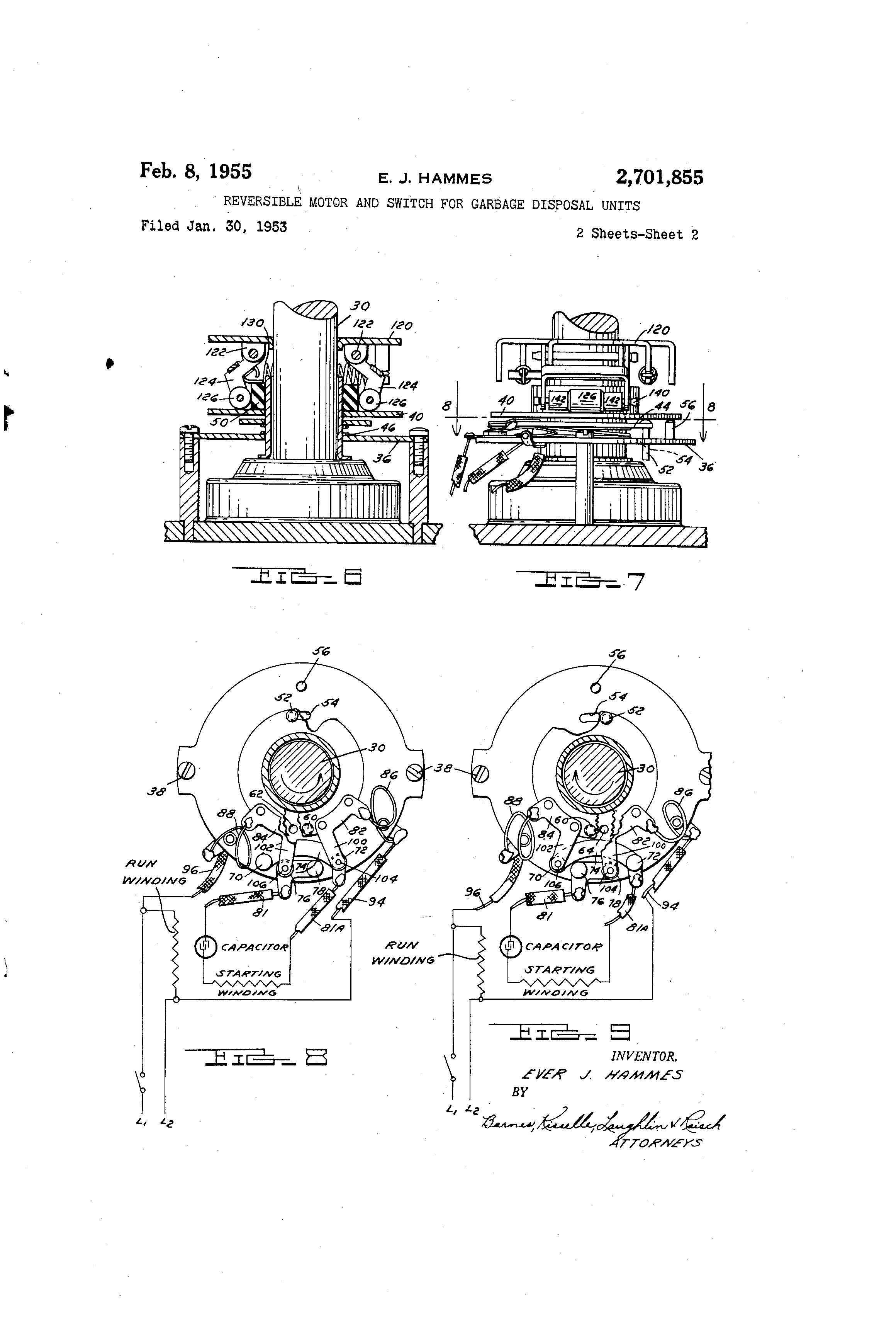 Brevet Us2701855 Reversible Motor And Switch For Garbage Disposal Wiring A To Patent Drawing