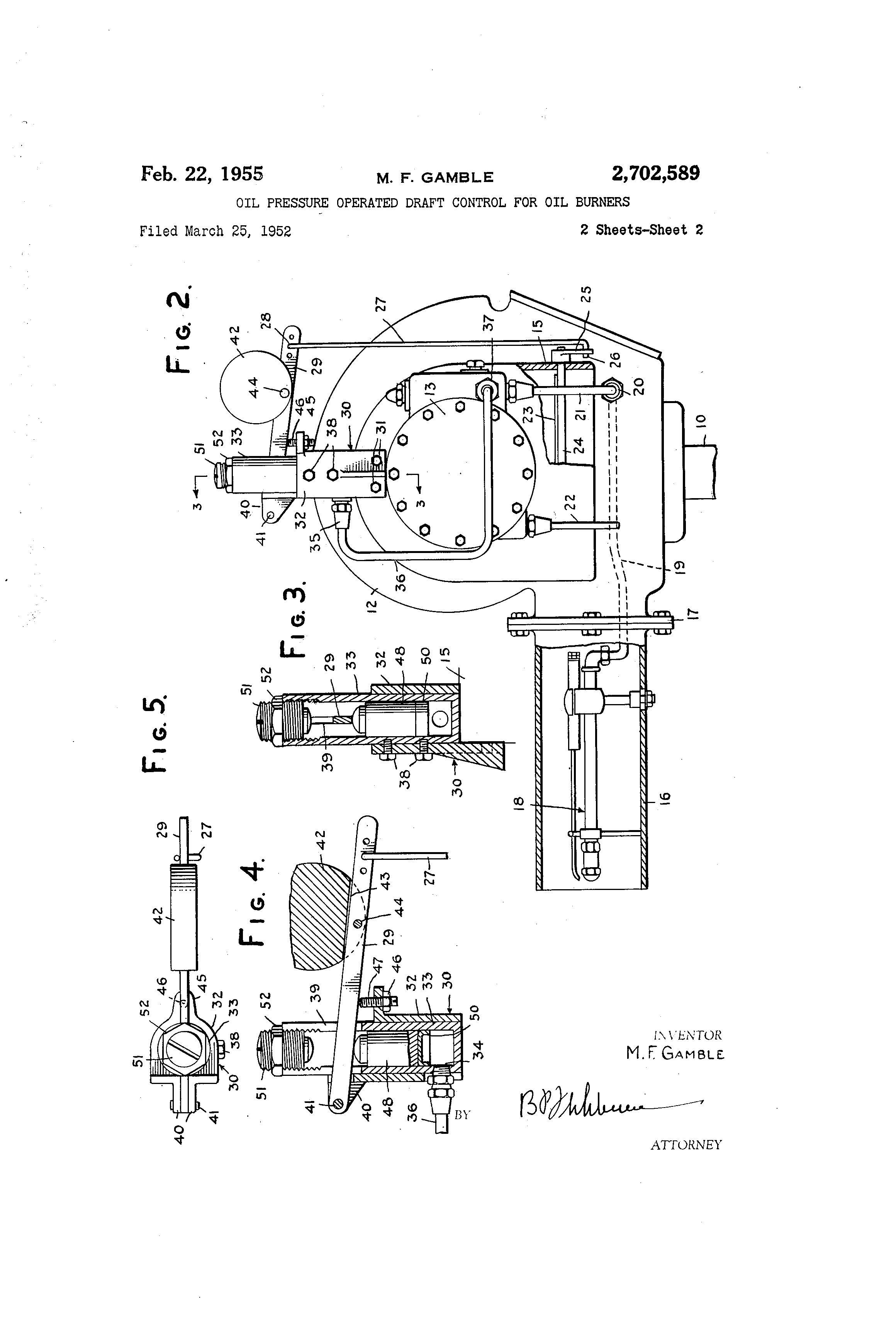 patent us2702589 - oil pressure operated draft control for oil burners