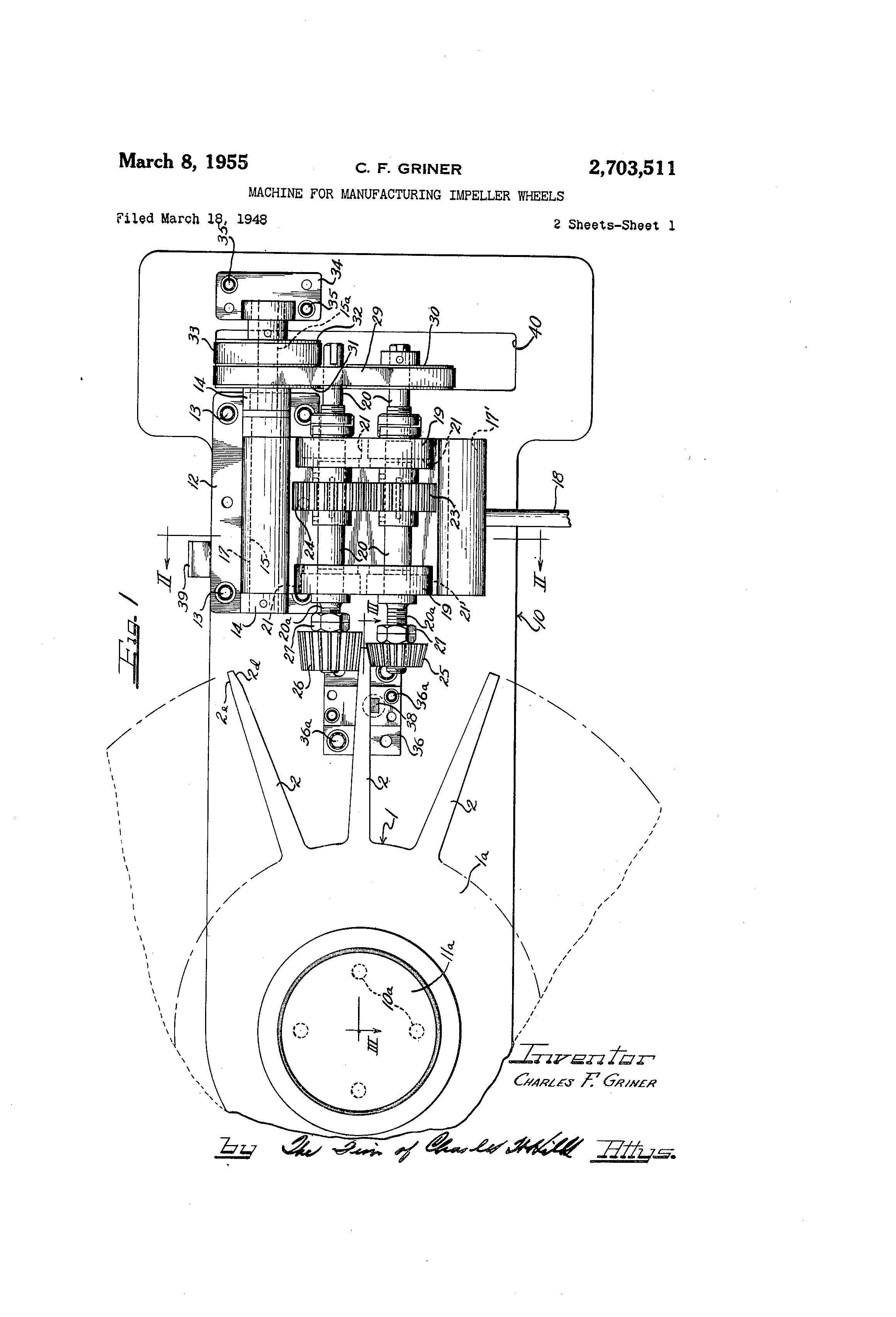 Patent Us2703511 Machine For Manufacturing Impeller Wheels