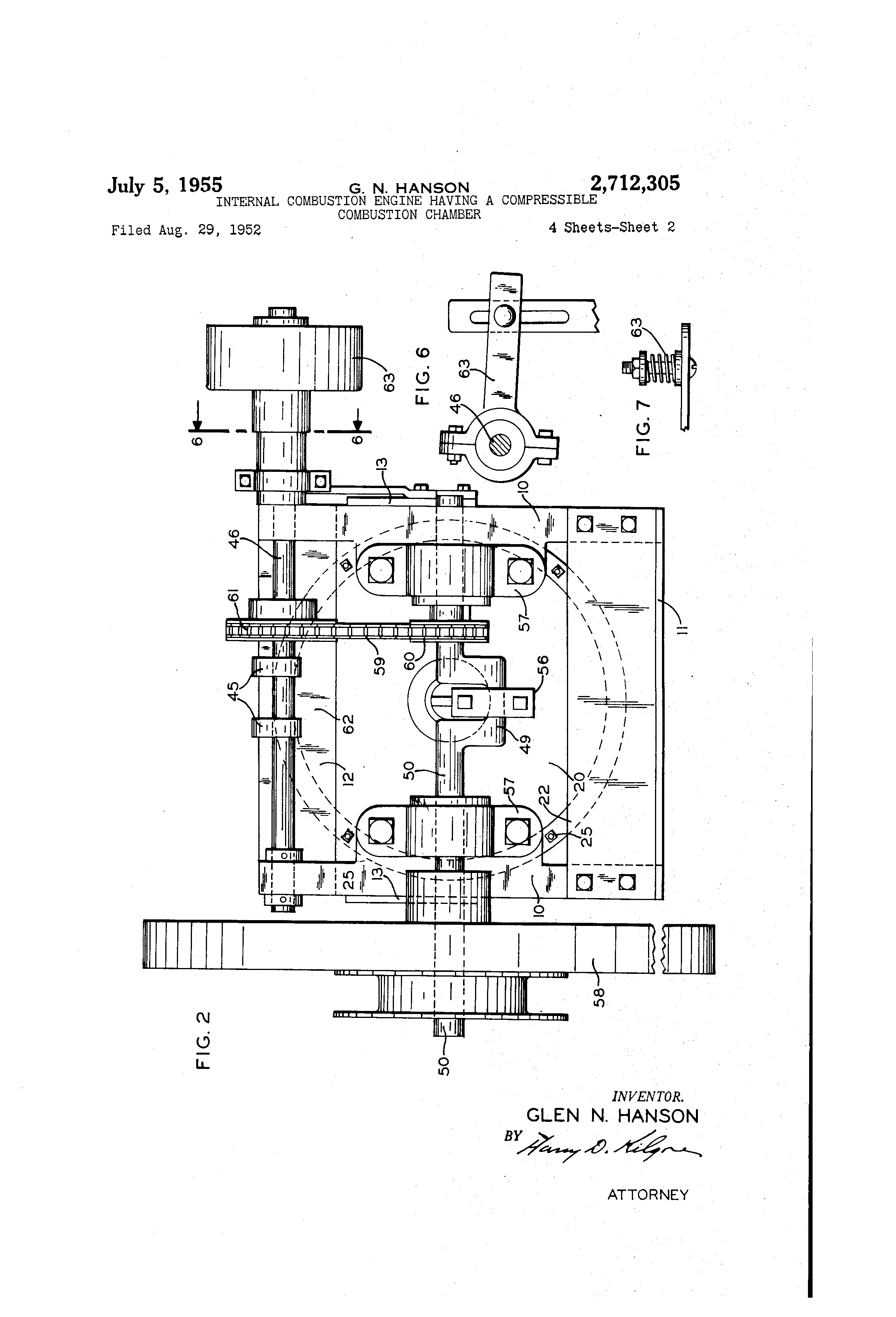 Patent Us2712305 Internal Combustion Engine Having A Compressible Diagram Drawing