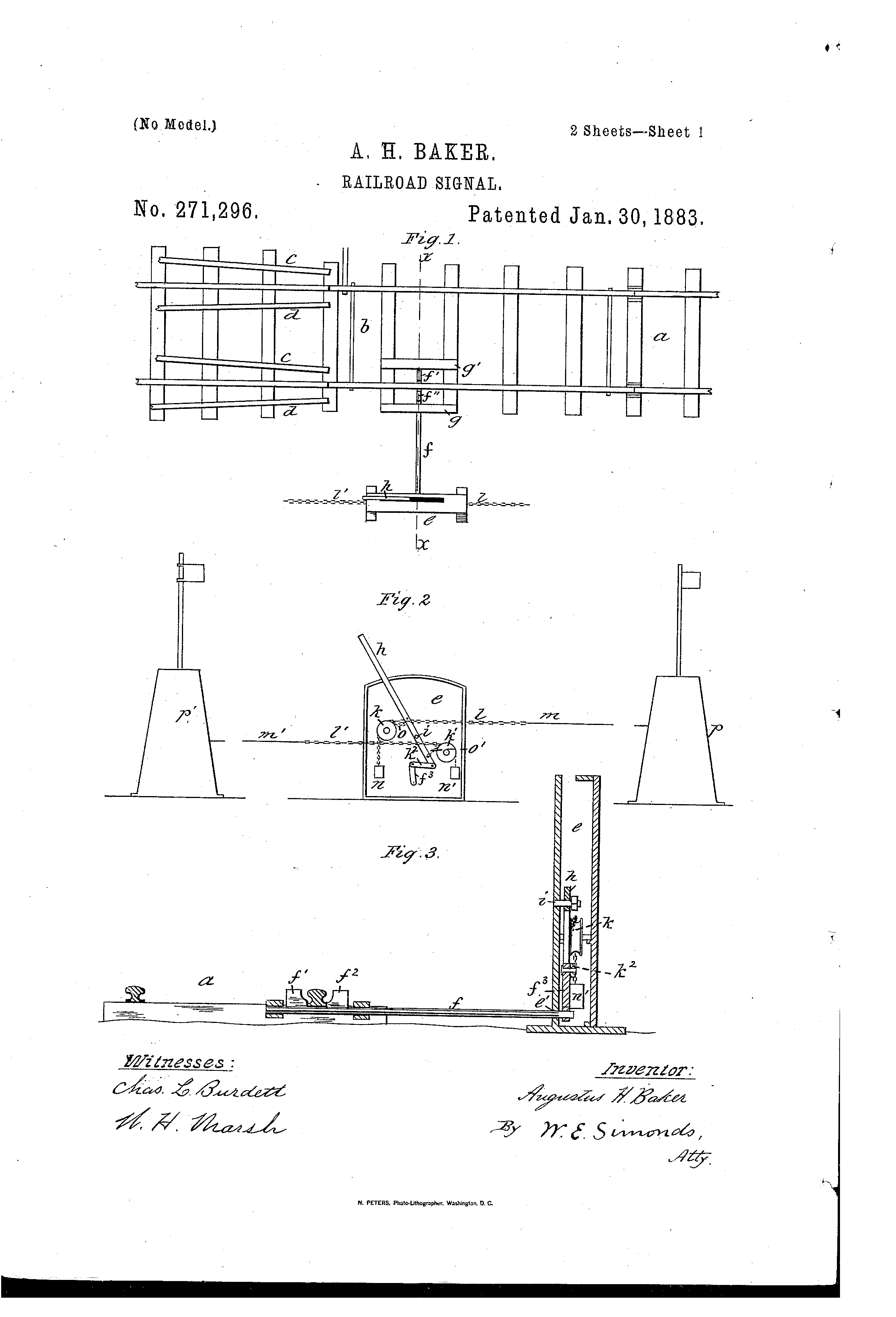 Patent Us271296 Railroad Signal Google Patents Wiring Diagram Drawing