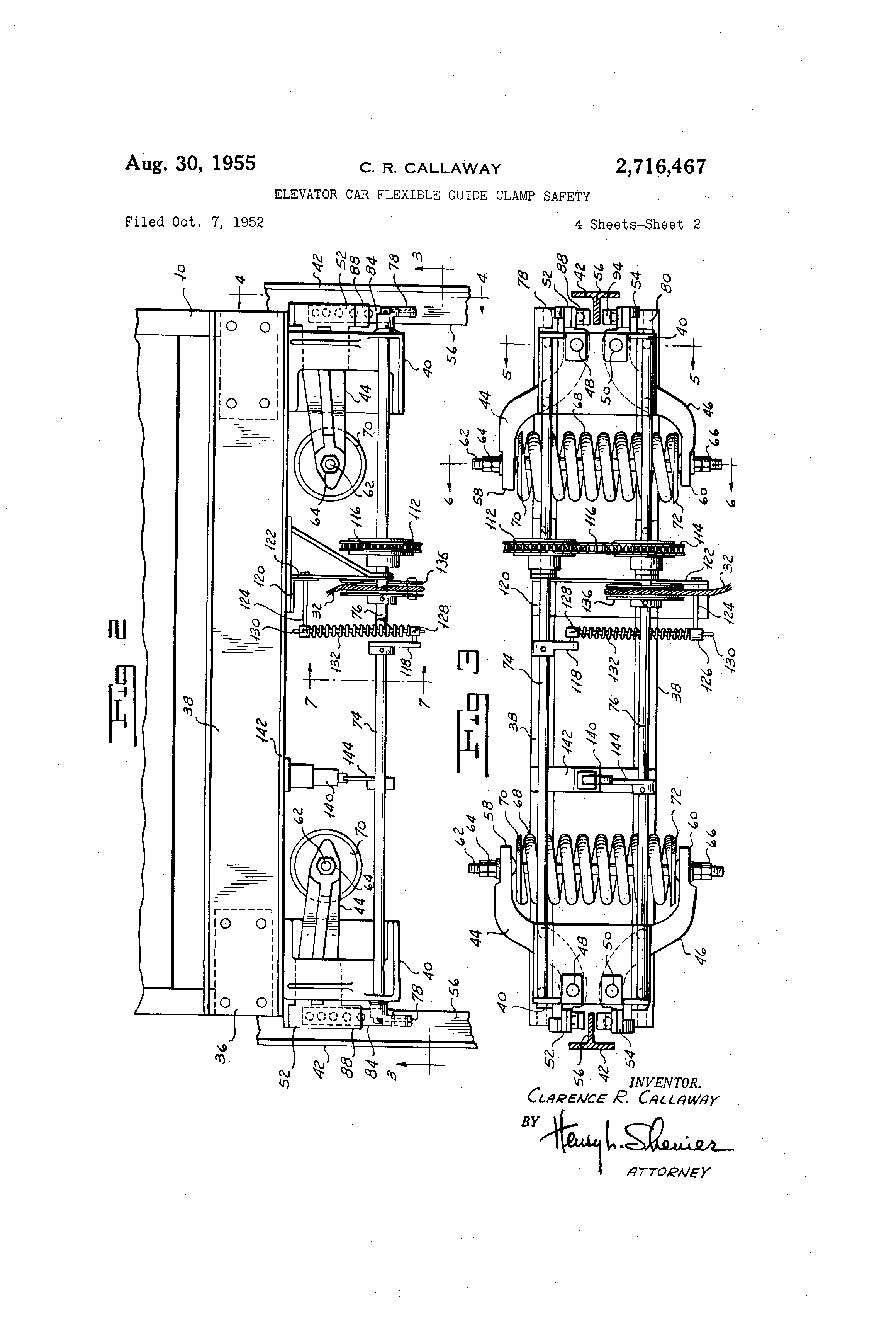 patent us2716467 - elevator car flexible guide clamp safety