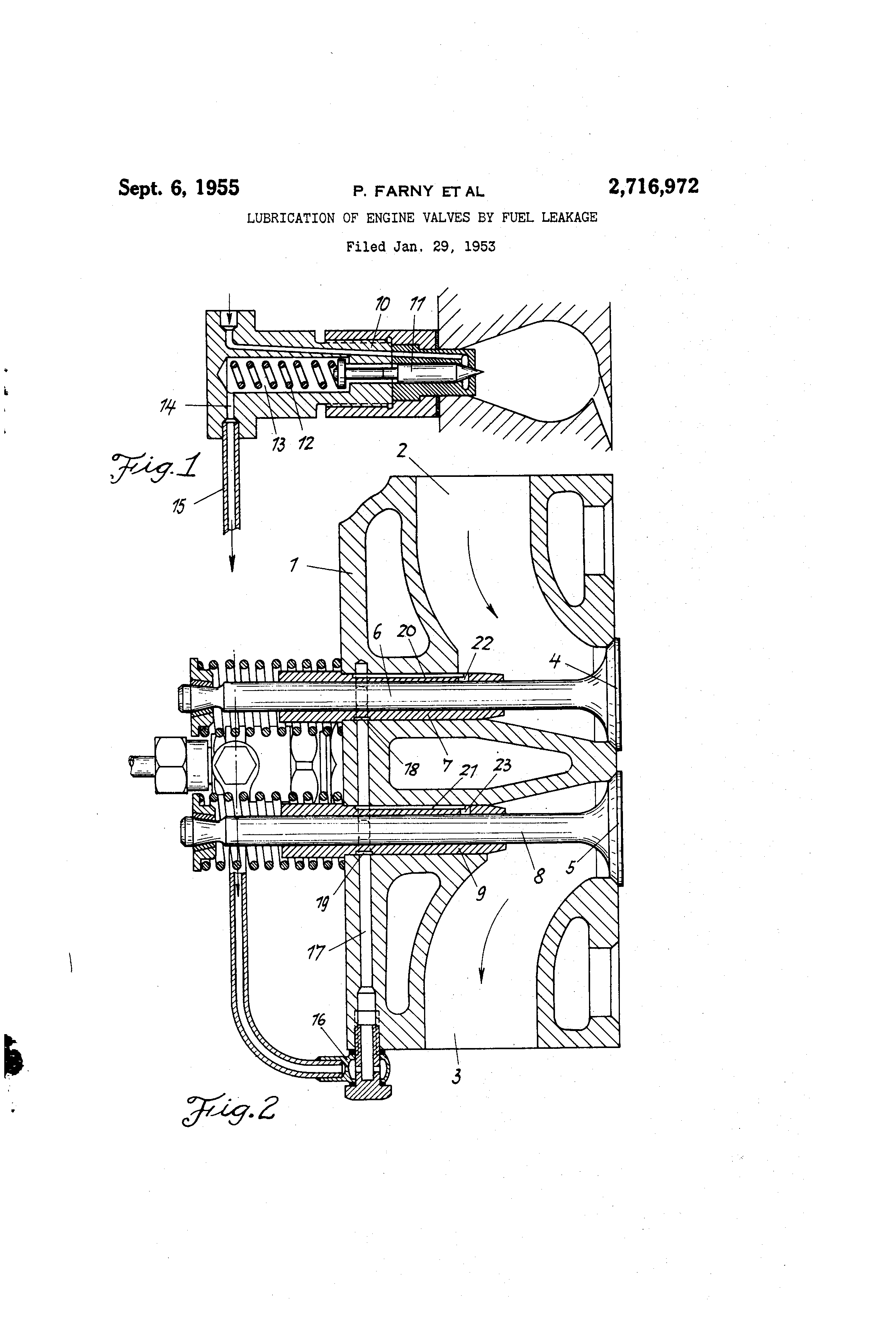 Patent Us2716972 Lubrication Of Engine Valves By Fuel Leakage Diagram Drawing