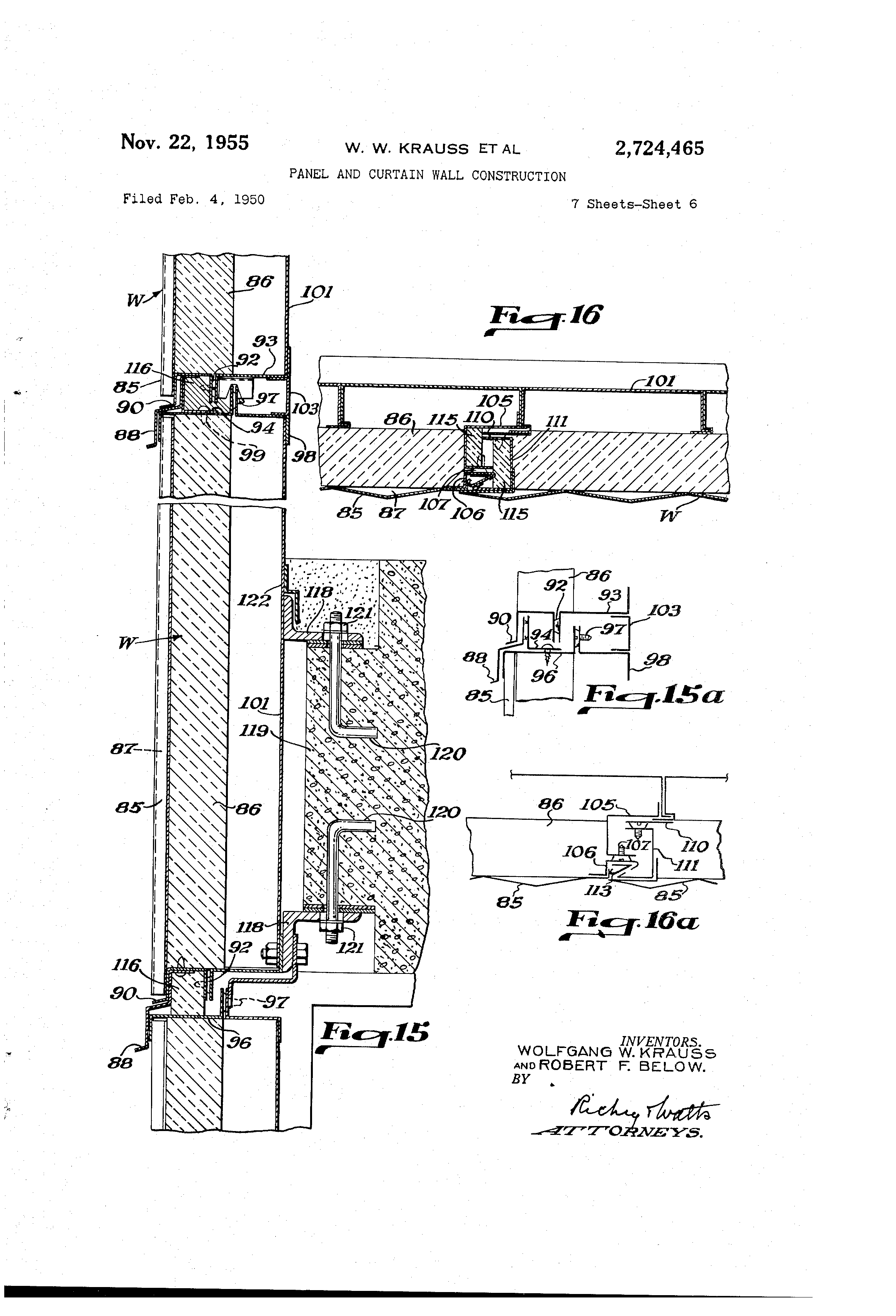 Patent Us2724465 Panel And Curtain Wall Construction