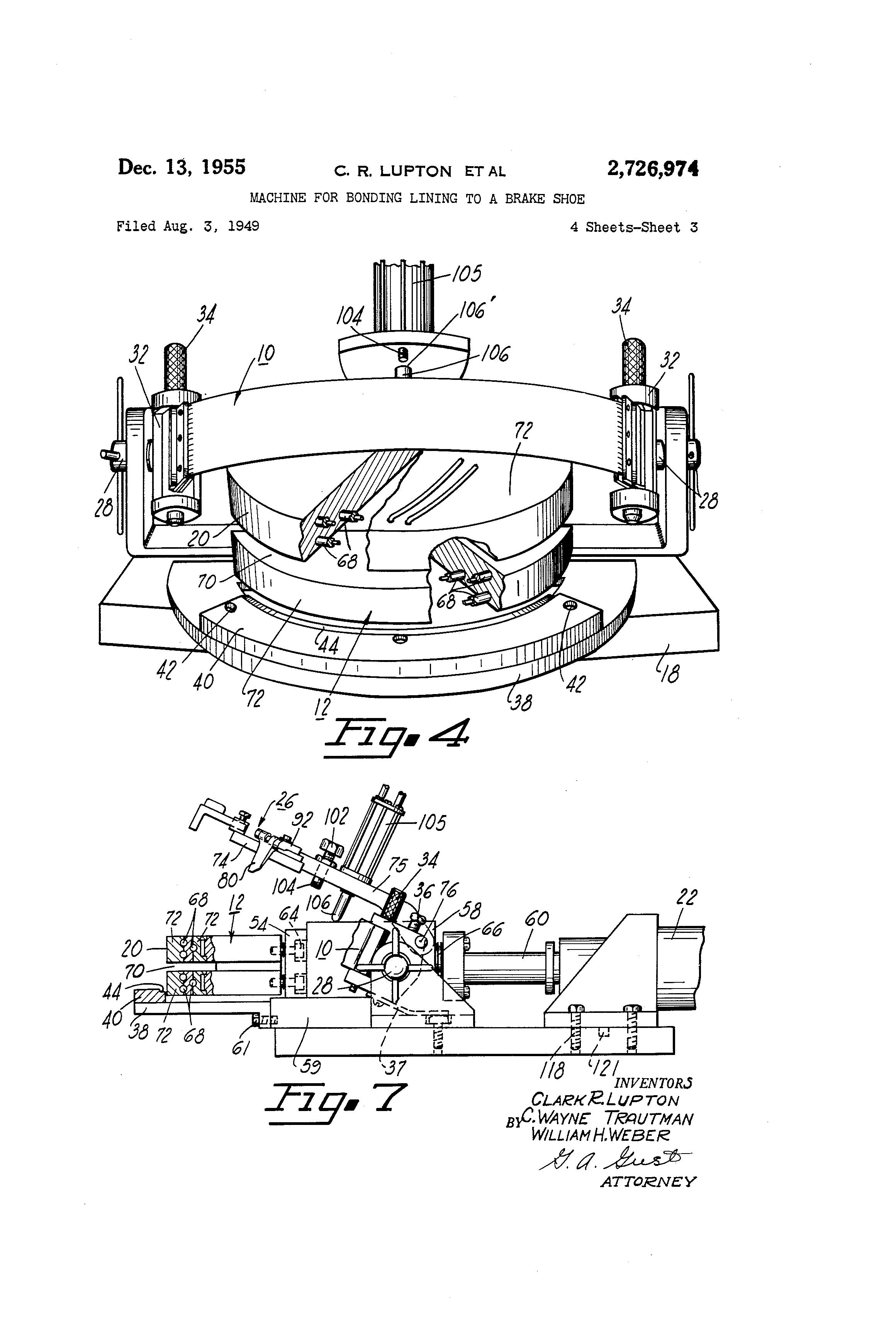 Brake Lining Draw : Patent us machine for bonding lining to a brake