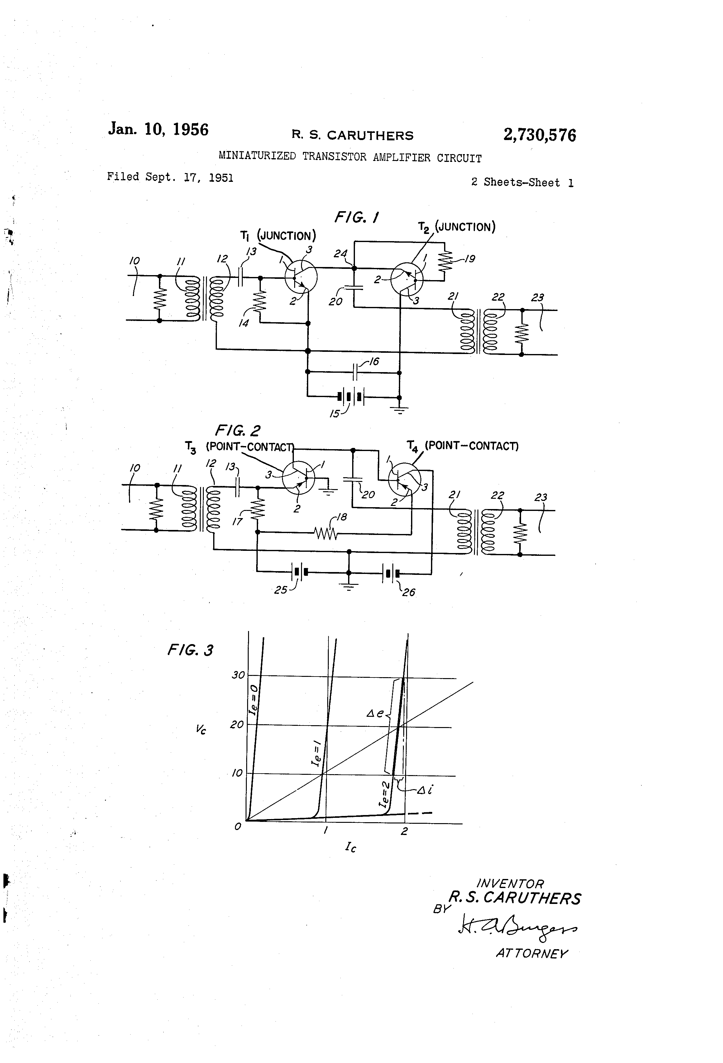 Patent Us2730576 Miniaturized Transistor Amplifier Circuit And Point Contact Junction Transistors Are Used Drawing