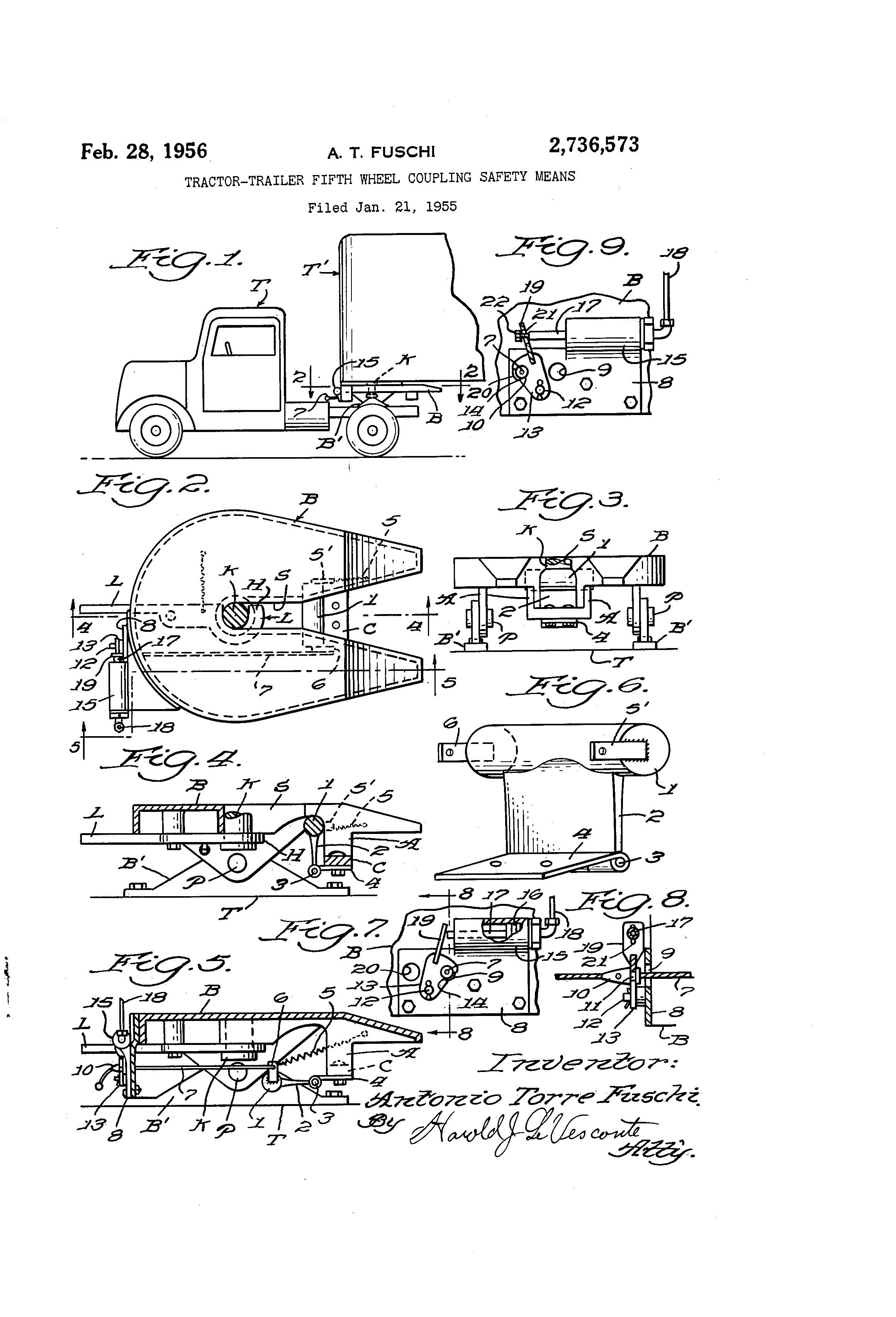 patent us2736573 - tractor-trailer fifth wheel coupling safety means