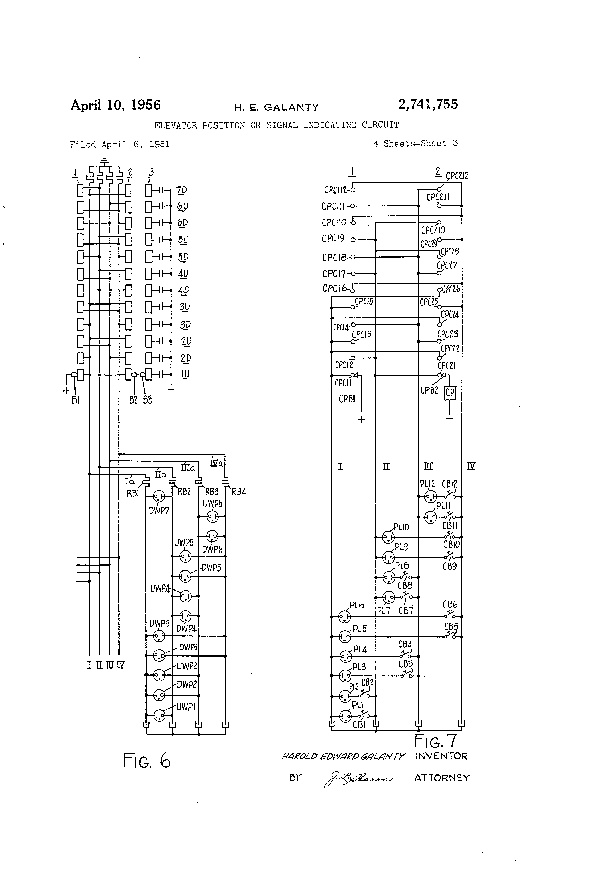 patent us2741755 - elevator position or signal indicating circuit