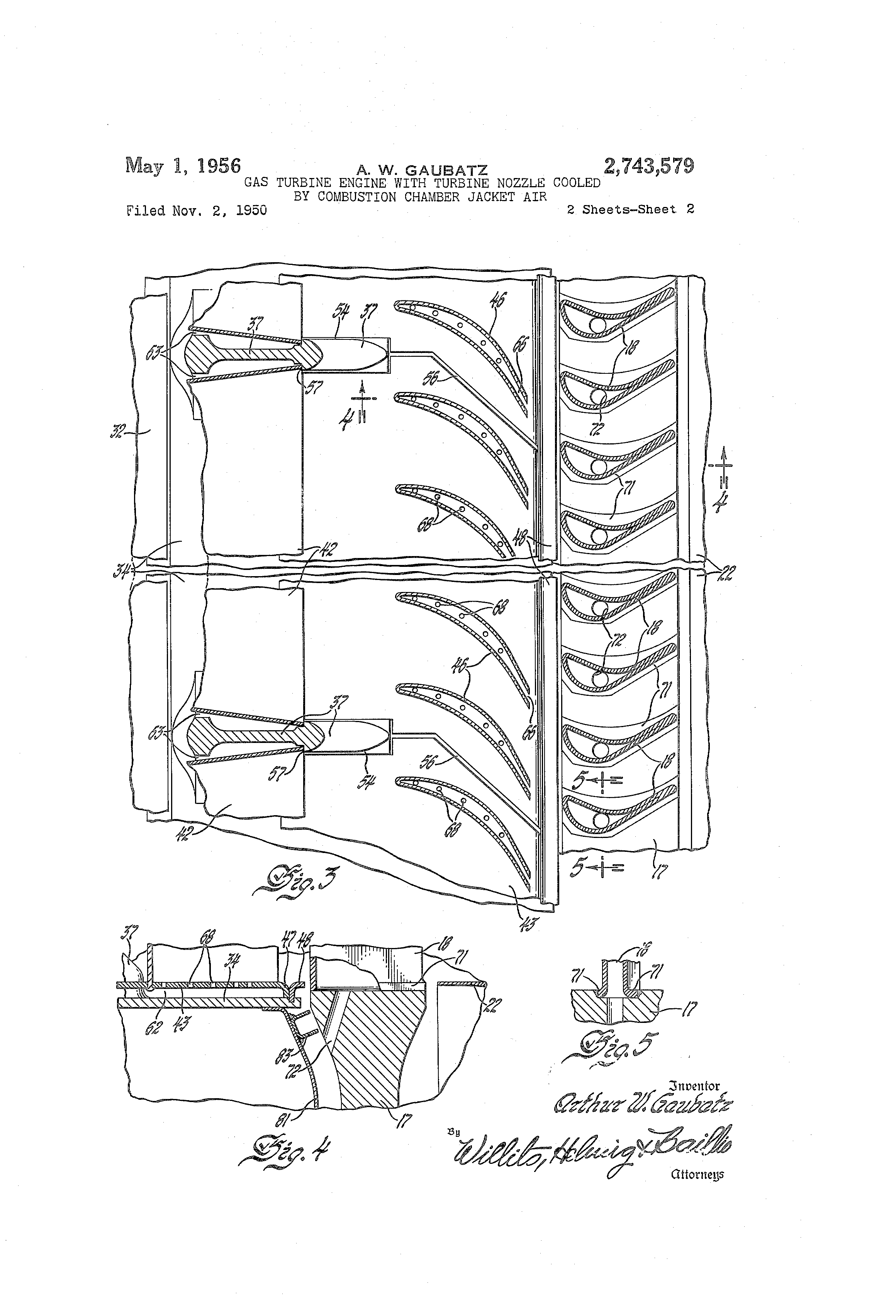 Patente US Gas turbine engine with turbine nozzle cooled