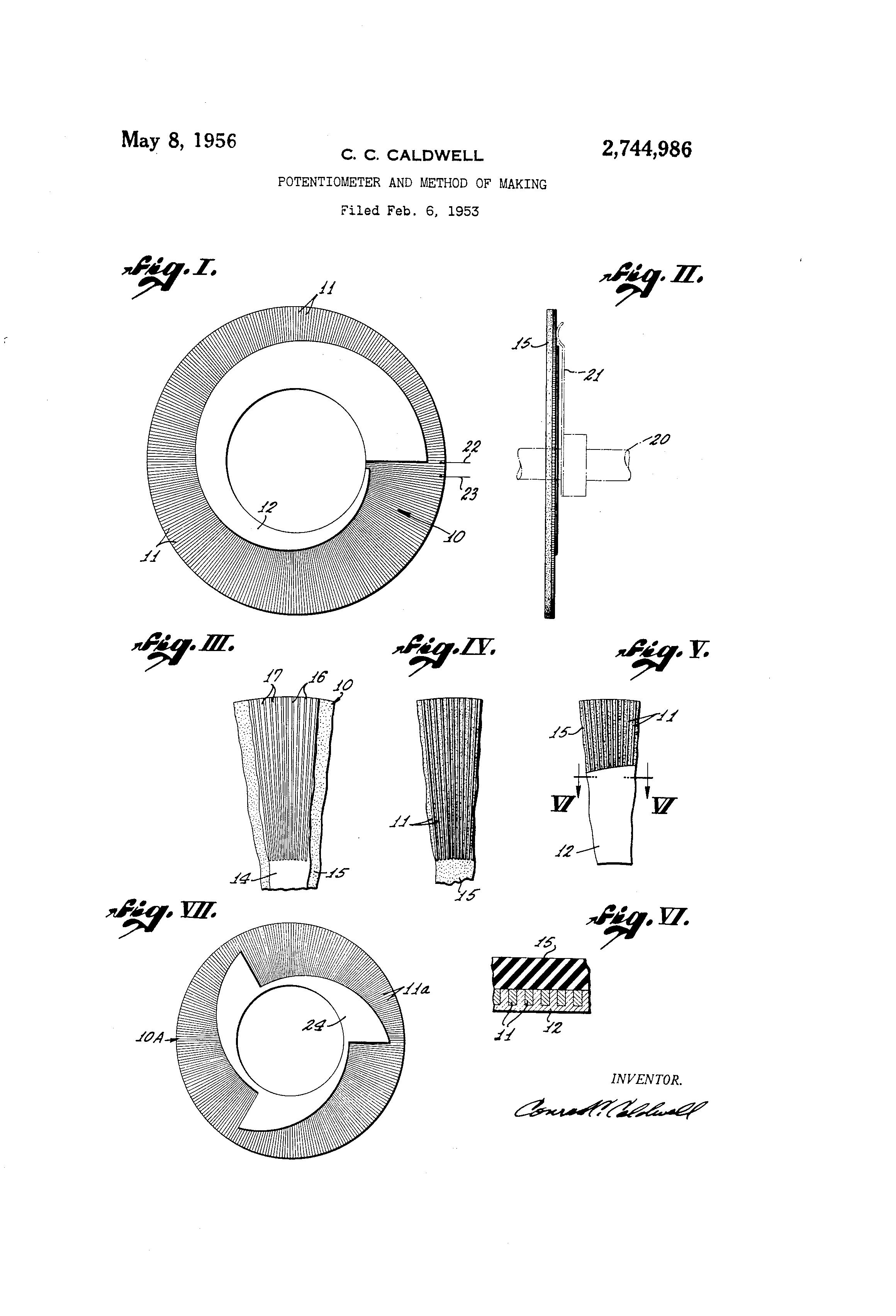 patent us2744986 potentiometer and method of making google patentsNonlinear Variable Resistor Google Patents On 3 Wire Variable Resistor #8