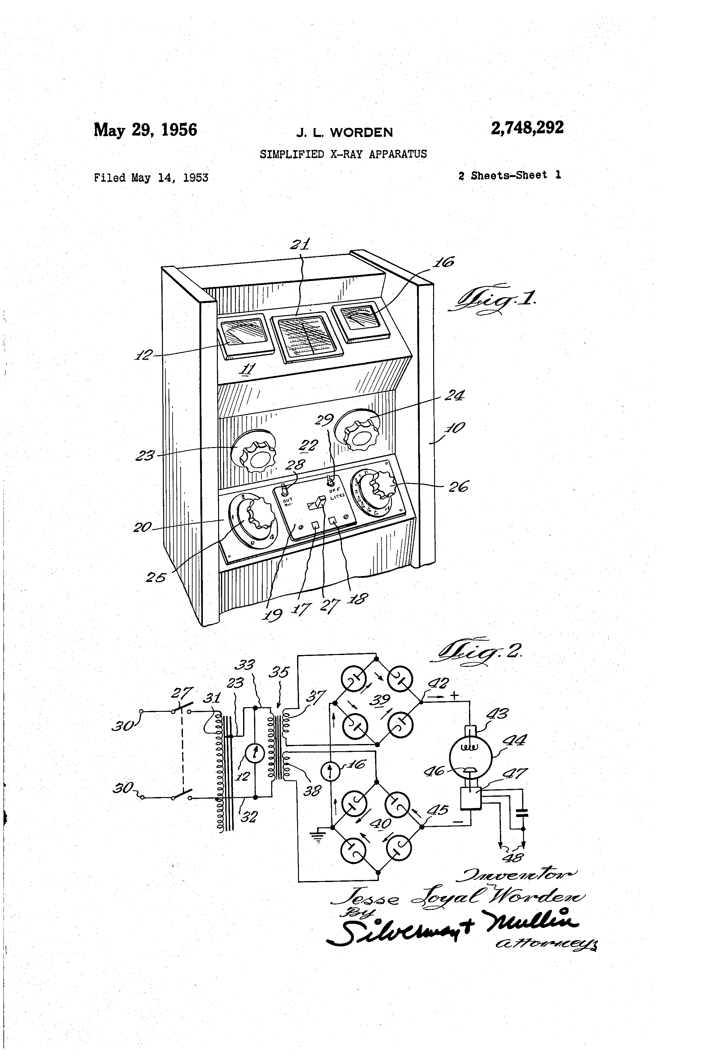 Patente Us2748292 Simplified X Ray Apparatus Google Patentes Knob And Tube Switch Wiring Diagram Patent Drawing