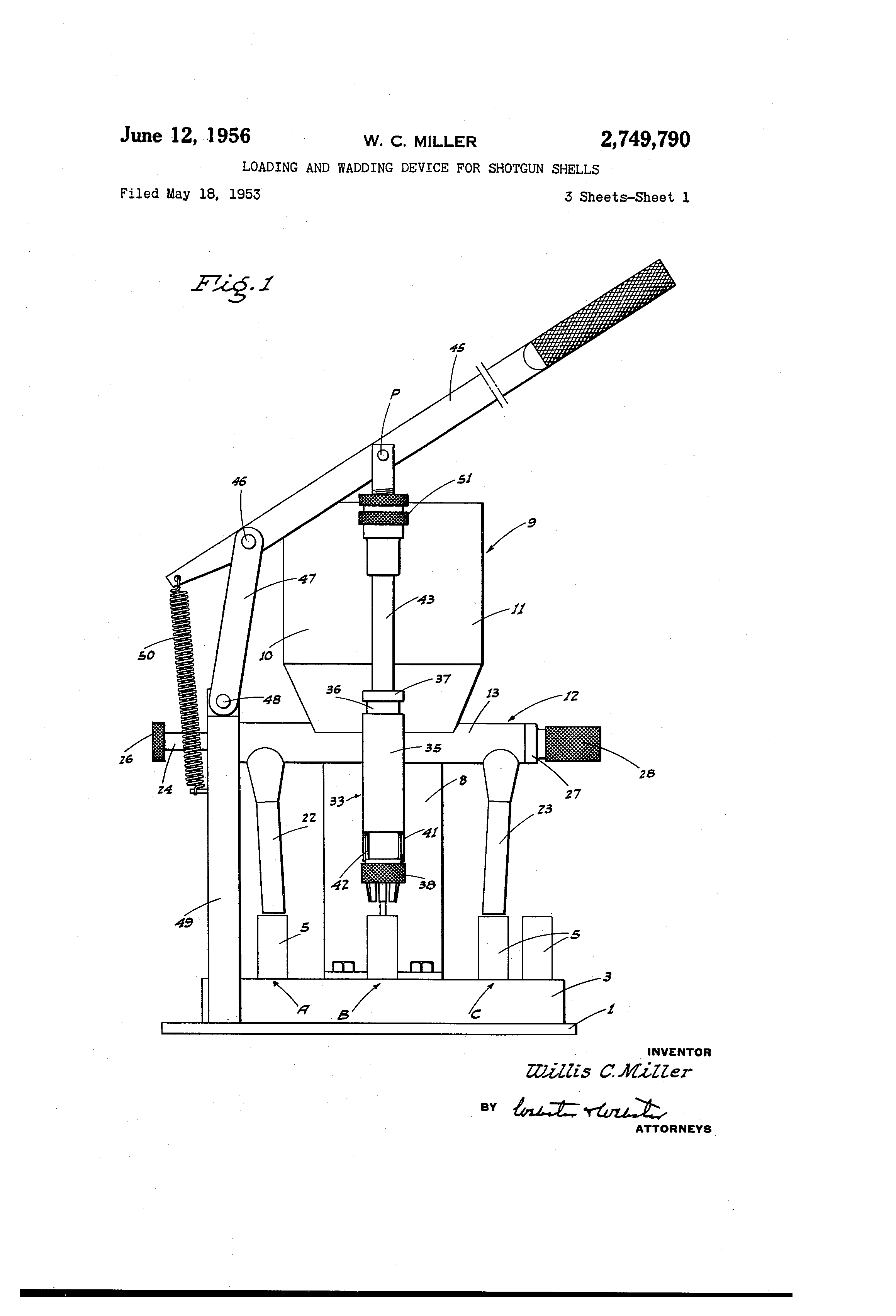 Brevet Us2749790 Loading And Wadding Device For Shotgun Shells Shell Diagram Patent Drawing