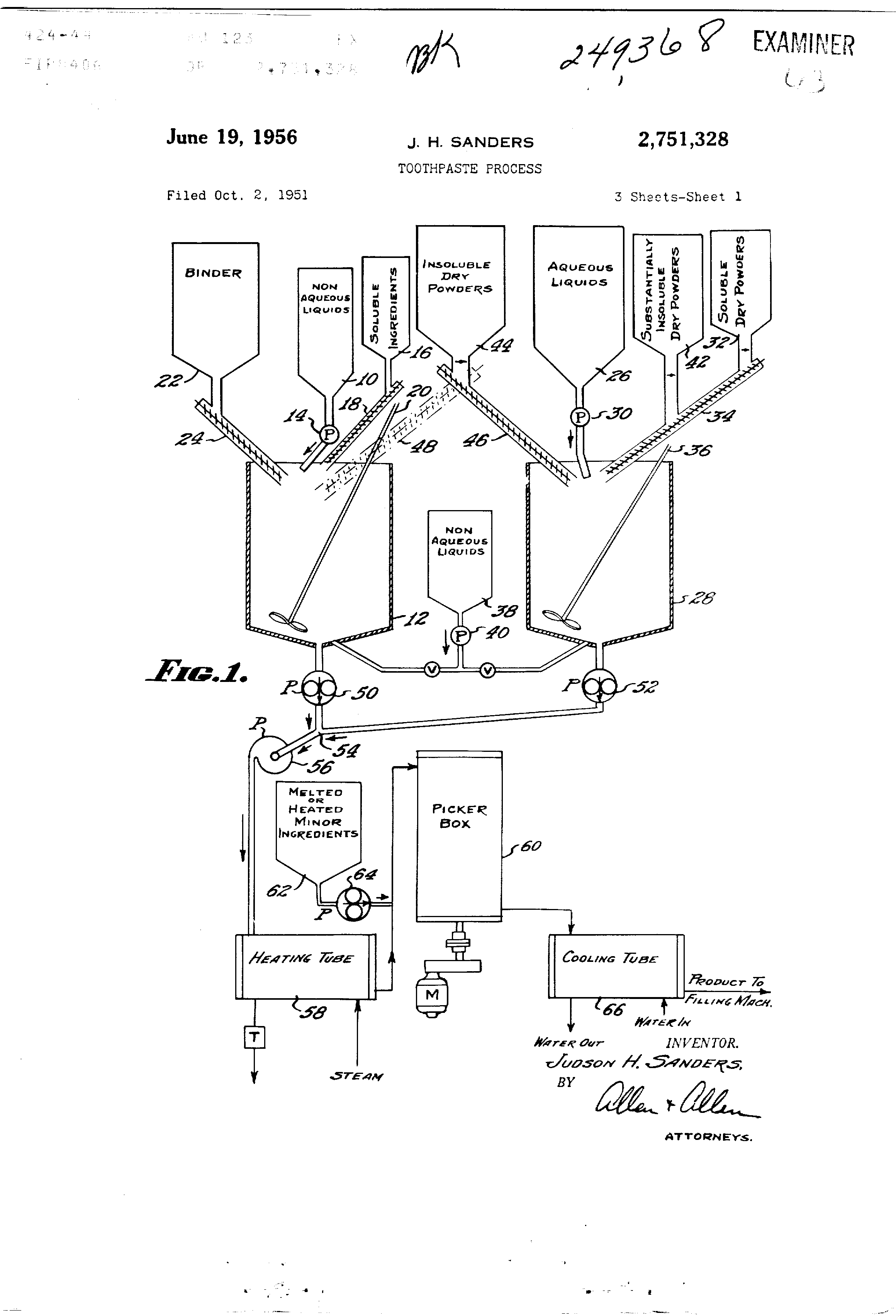 Patent US2751328 - Toothpaste process