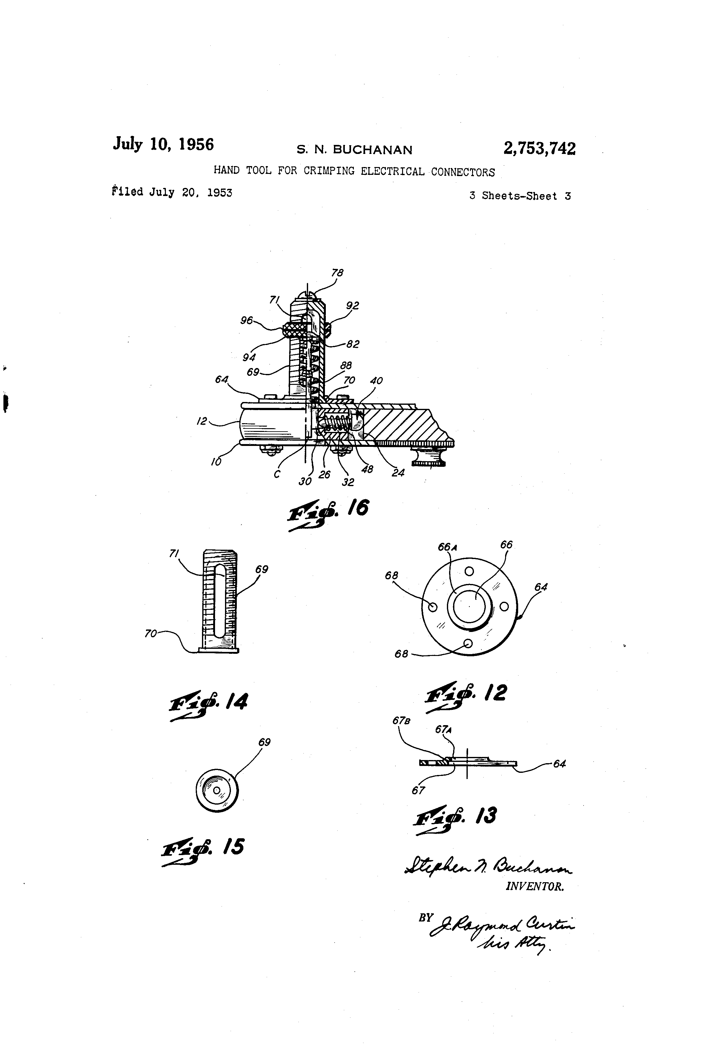 Patent US2753742 - Hand tool for crimping electrical connectors ...
