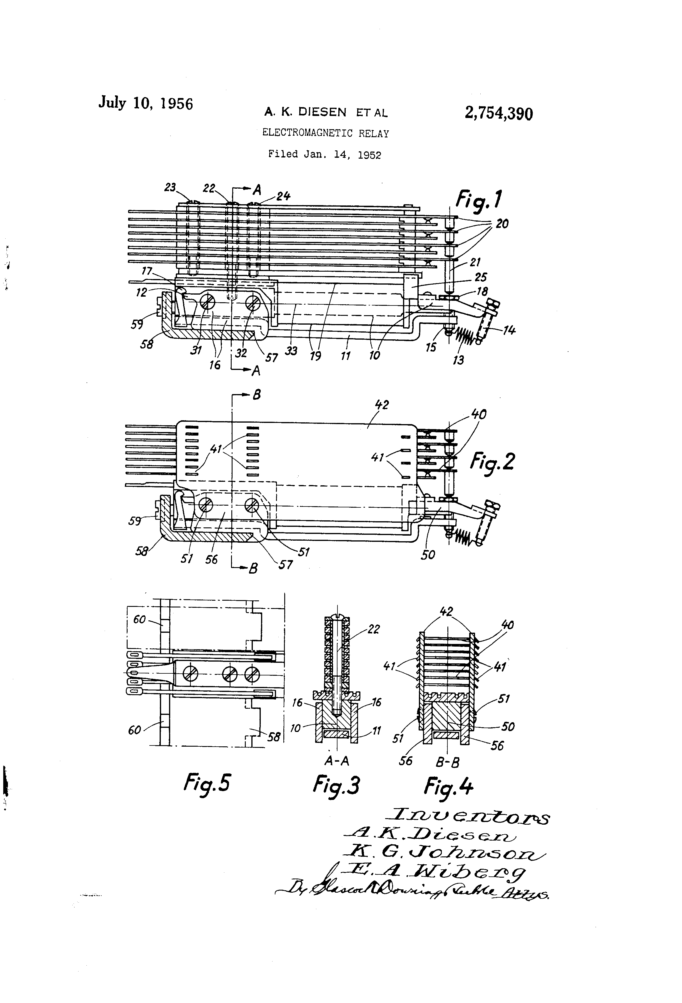 Patent Us2754390 Electromagnetic Relay Google Patents Images Drawing