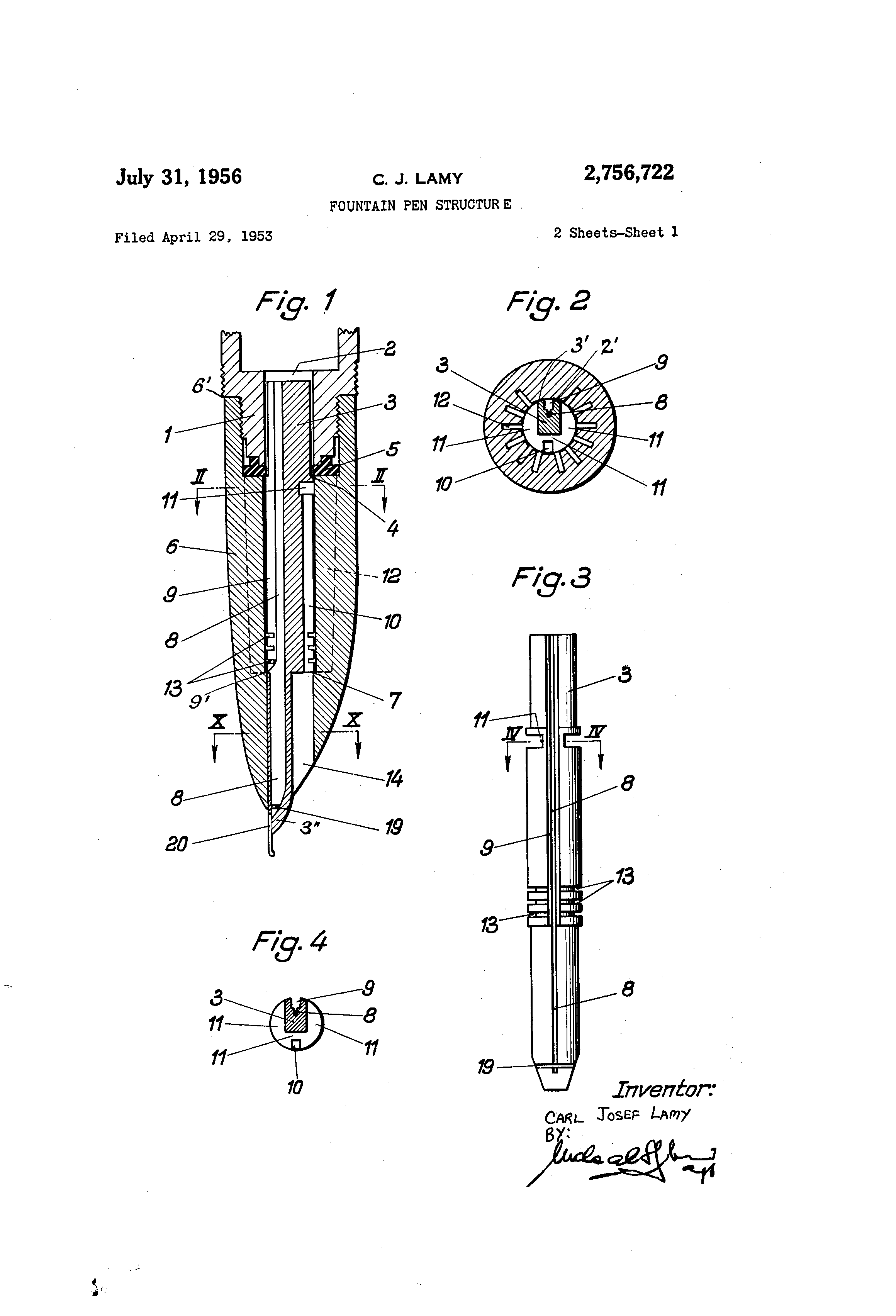 patent us2756722 - fountain pen structure
