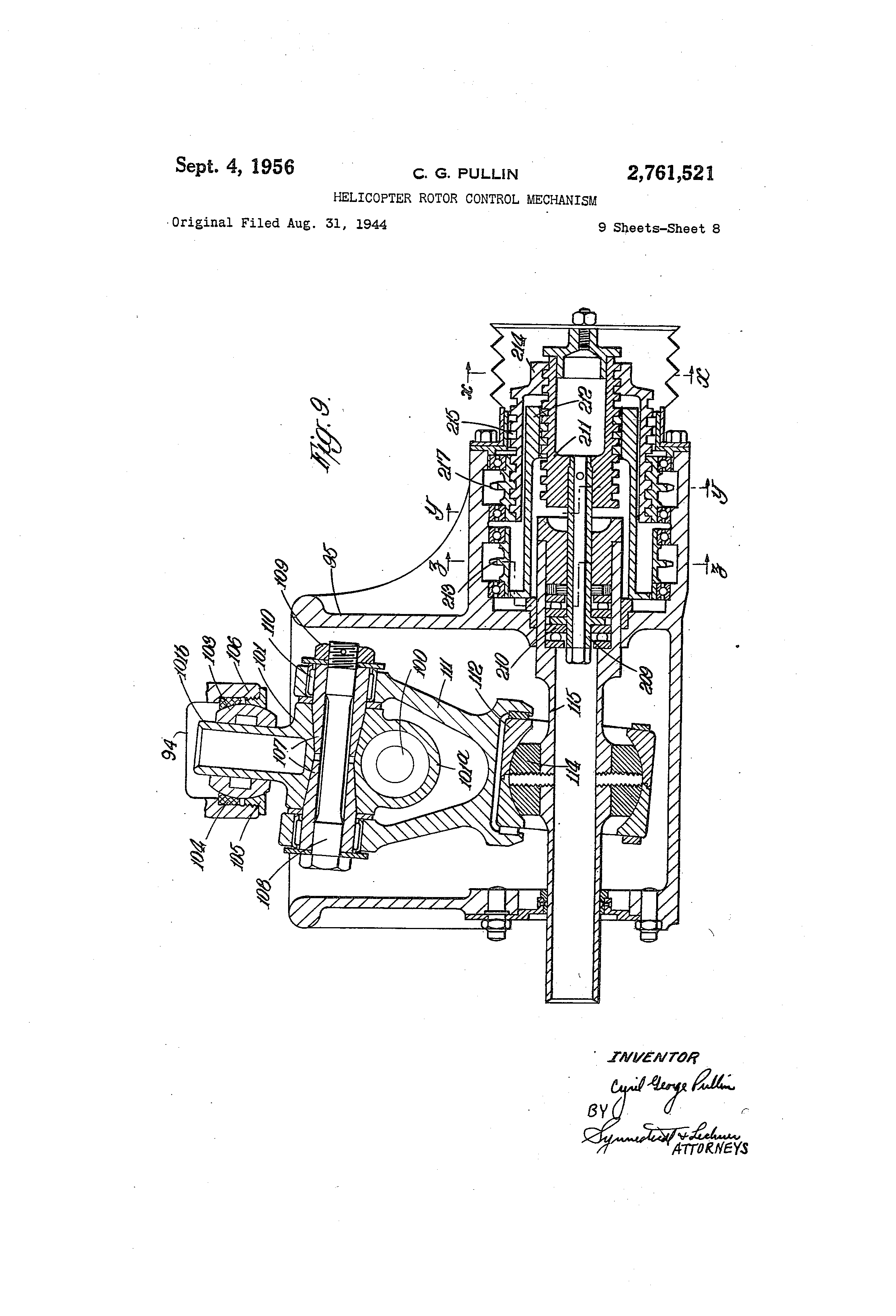 Brevet Us2761521 Helicopter Rotor Control Mechanism Google Brevets Ford 4 2 V6 Engine Diagrams Patent Drawing
