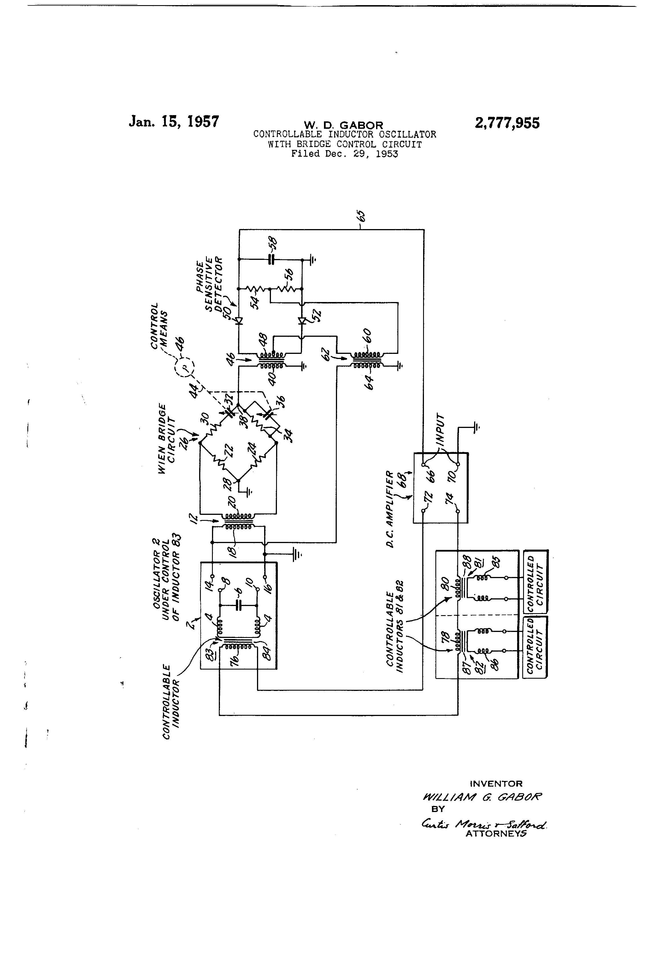 Patent Us2777955 Controllable Inductor Oscillator With Bridge Use Of In A Circuit Drawing