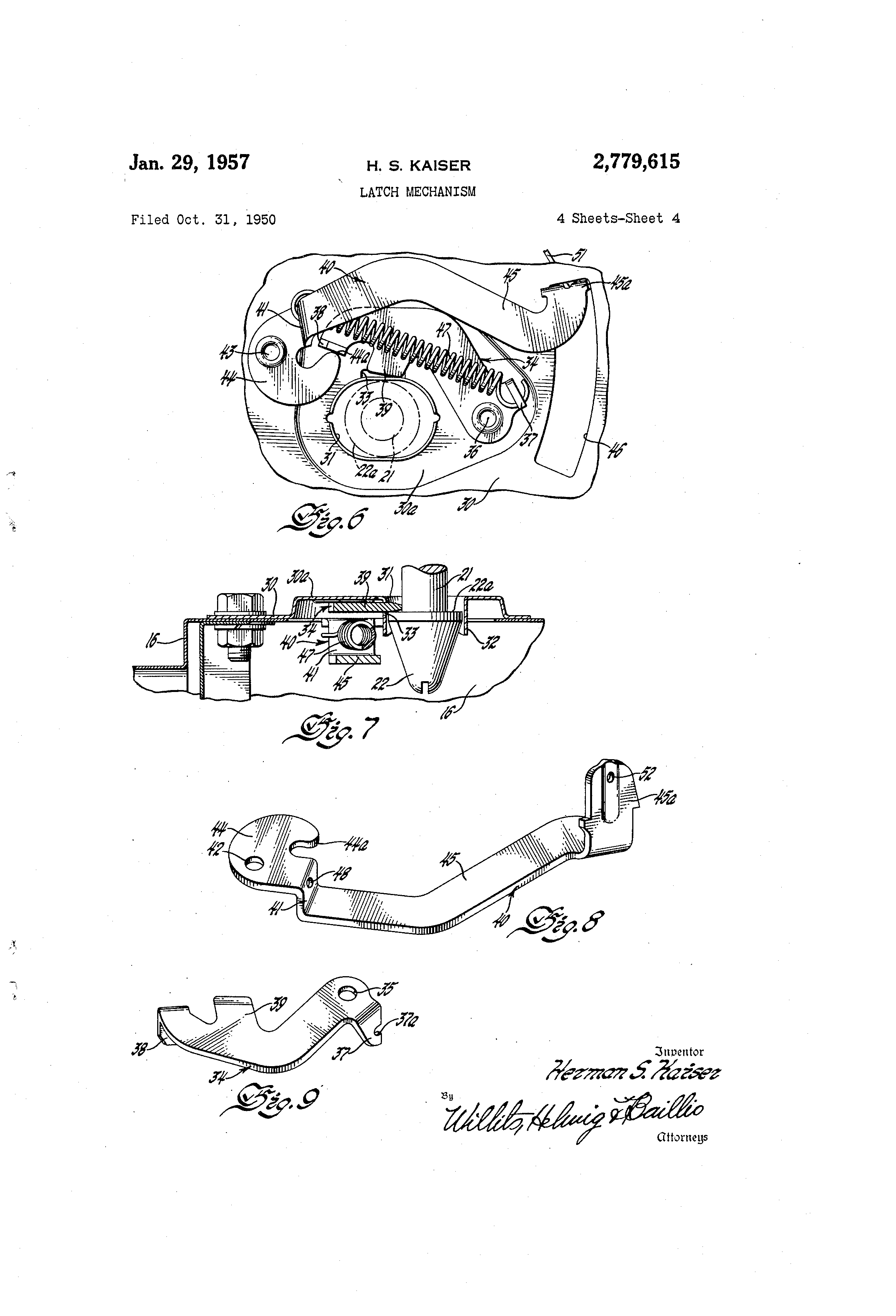 Patent Us2779615 Latch Mechanism Google Patents 1950 Kaiser Wiring Diagram Drawing