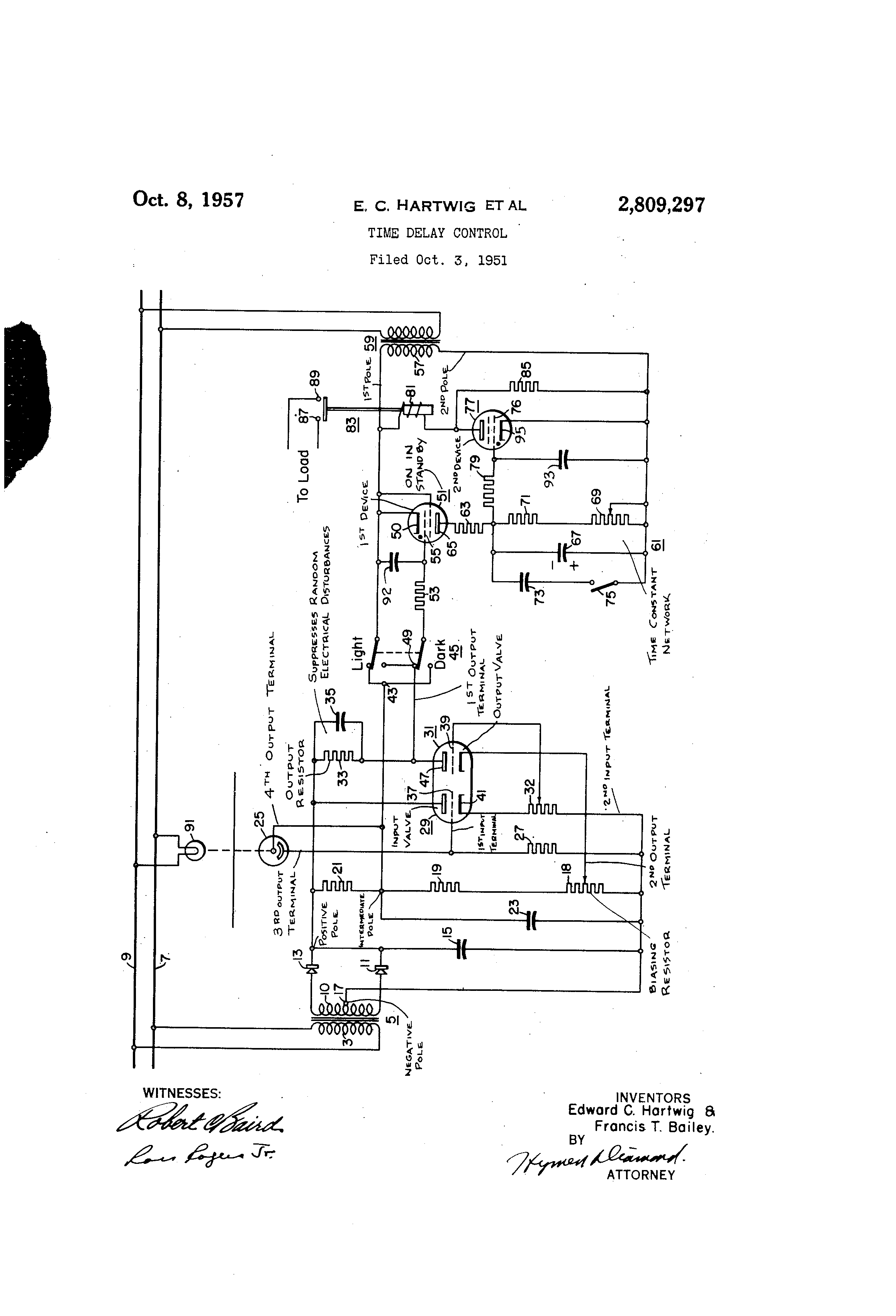 Patent Us2809297 Time Delay Control Google Patents Lightdark Switch With Relay Schematic Diagram Wiring Drawing