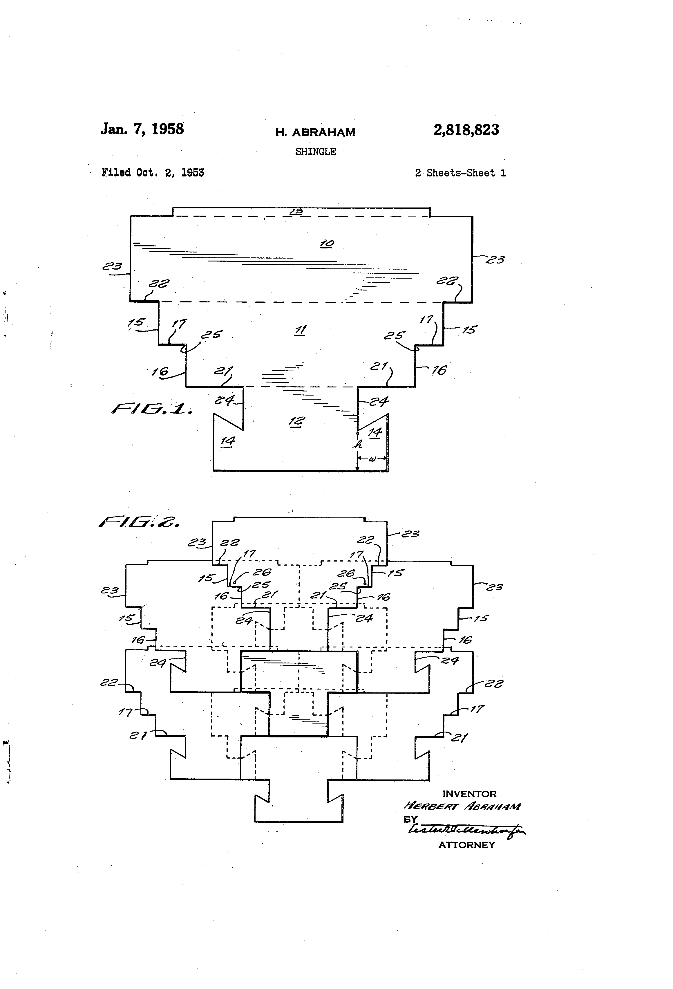 Patent US2818823 - Shingle - Google Patents