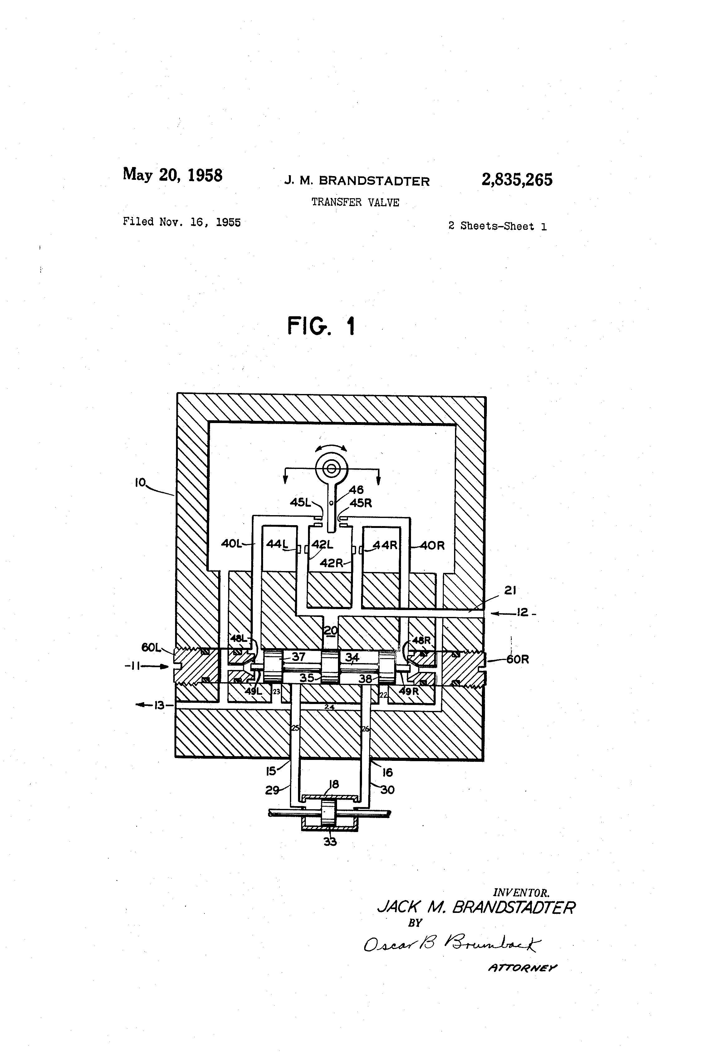 Patent US2835265 - Transfer valve - Google Patents