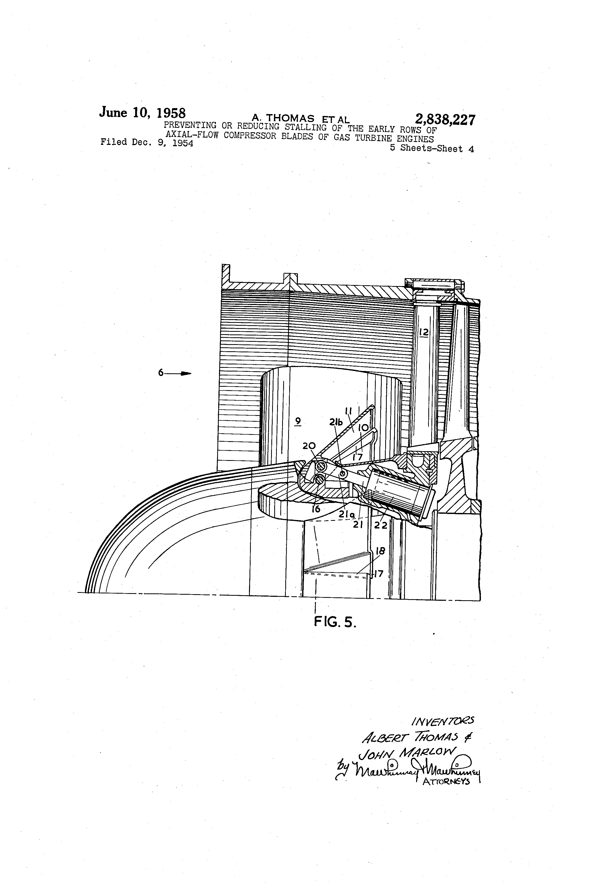 Brevet Us2838227 Preventing Or Reducing Stalling Of The Early Rows Jet Engine Diagram An Axialflow Patent Drawing