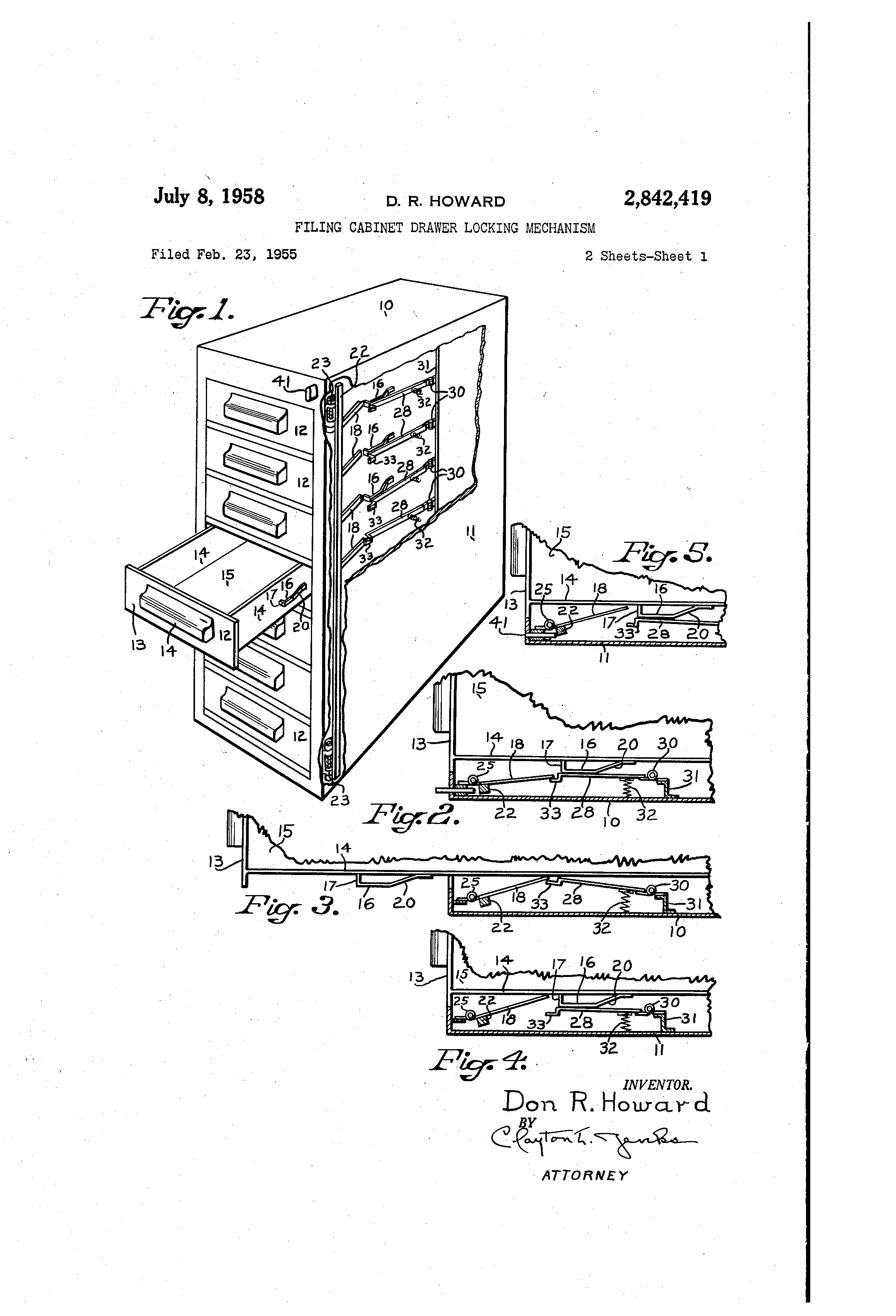 Patent Us2842419 Filing Cabinet Drawer Locking Mechanism