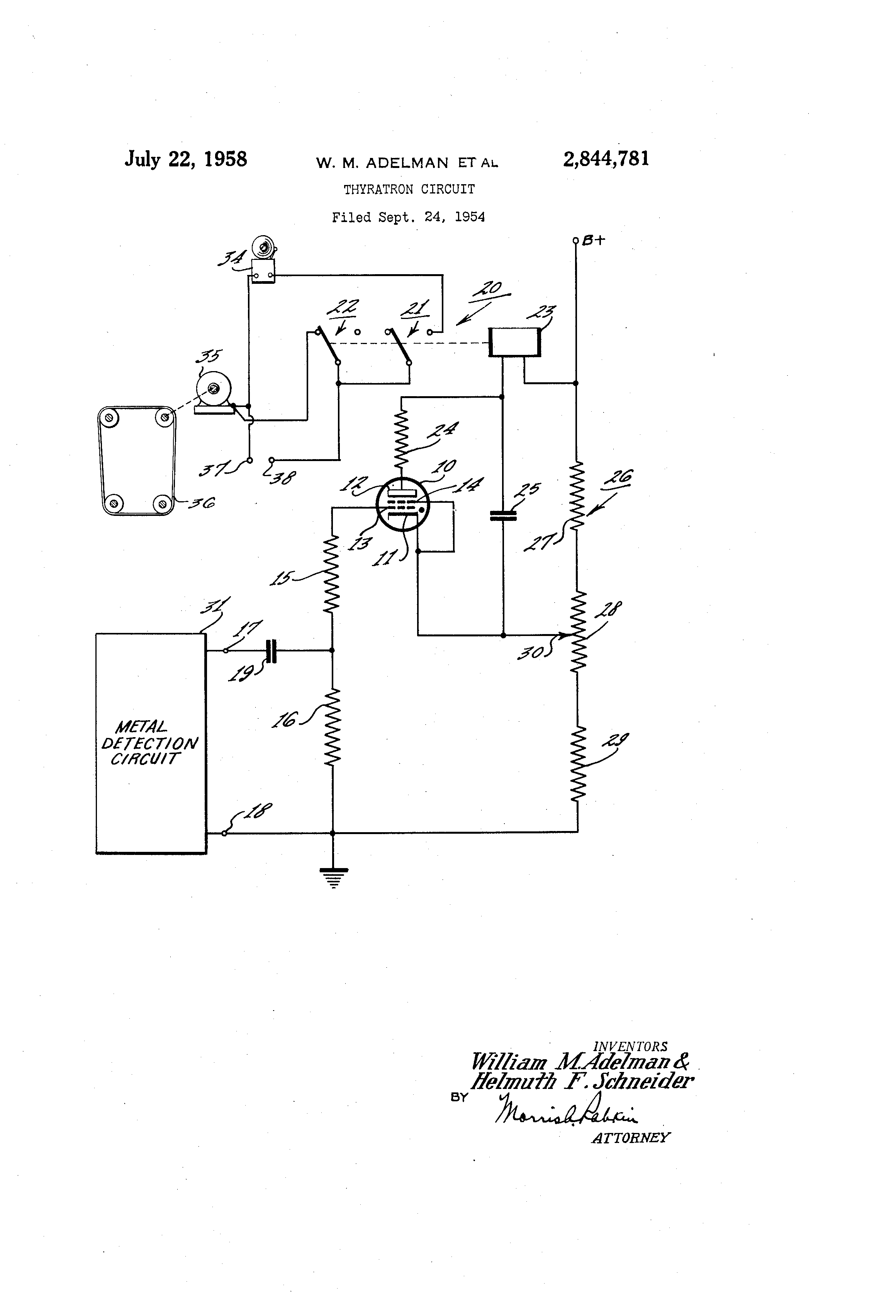 Patent Us2844781 Thyratron Circuit Google Patents Metal Detector Diagram
