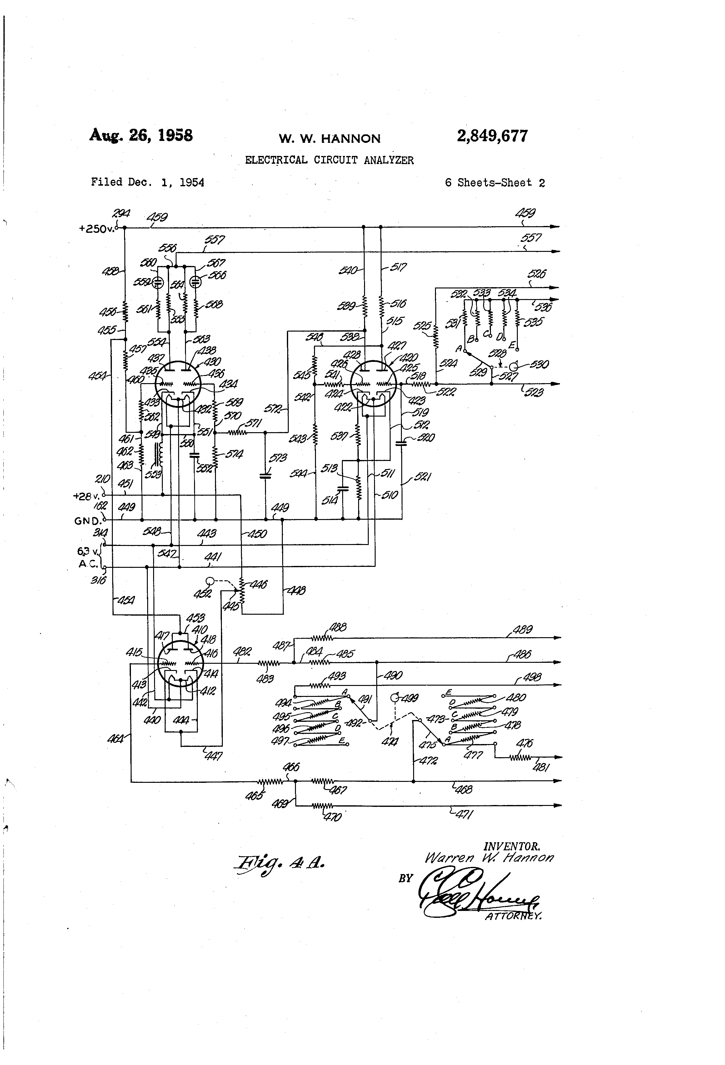 patent us2849677 - electrical circuit analyzer