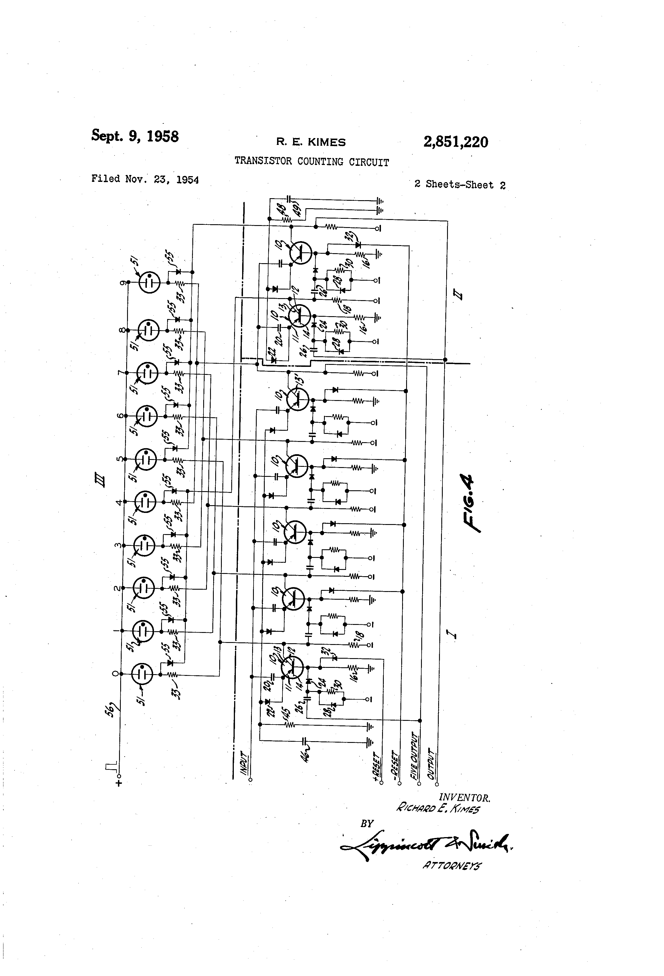 Patent Us2851220 Transistor Counting Circuit Google Patents Counter Drawing