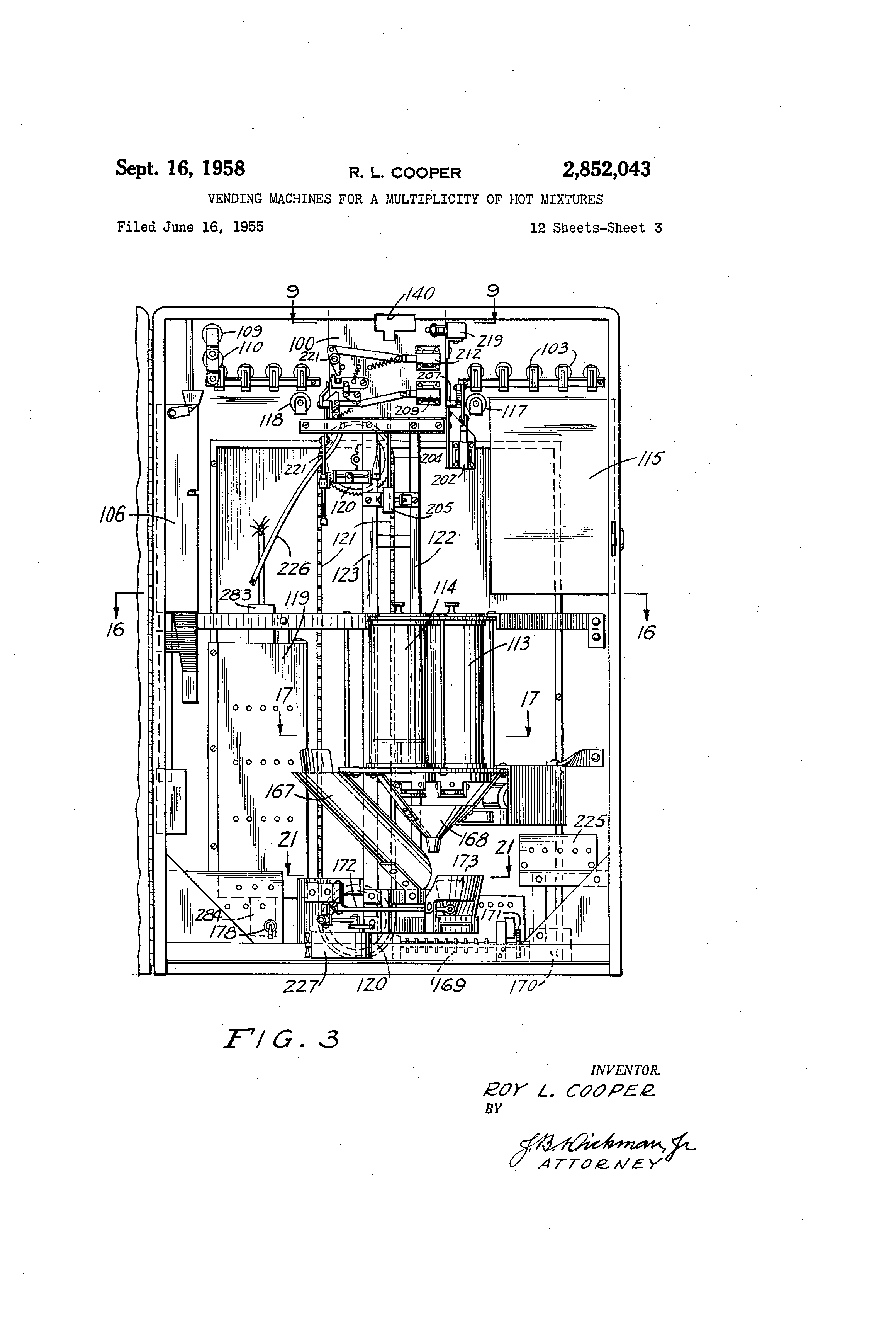 Brevet Us2852043 Vending Machines For A Multiplicity Of Hot Machine Wiring Diagram Patent Drawing