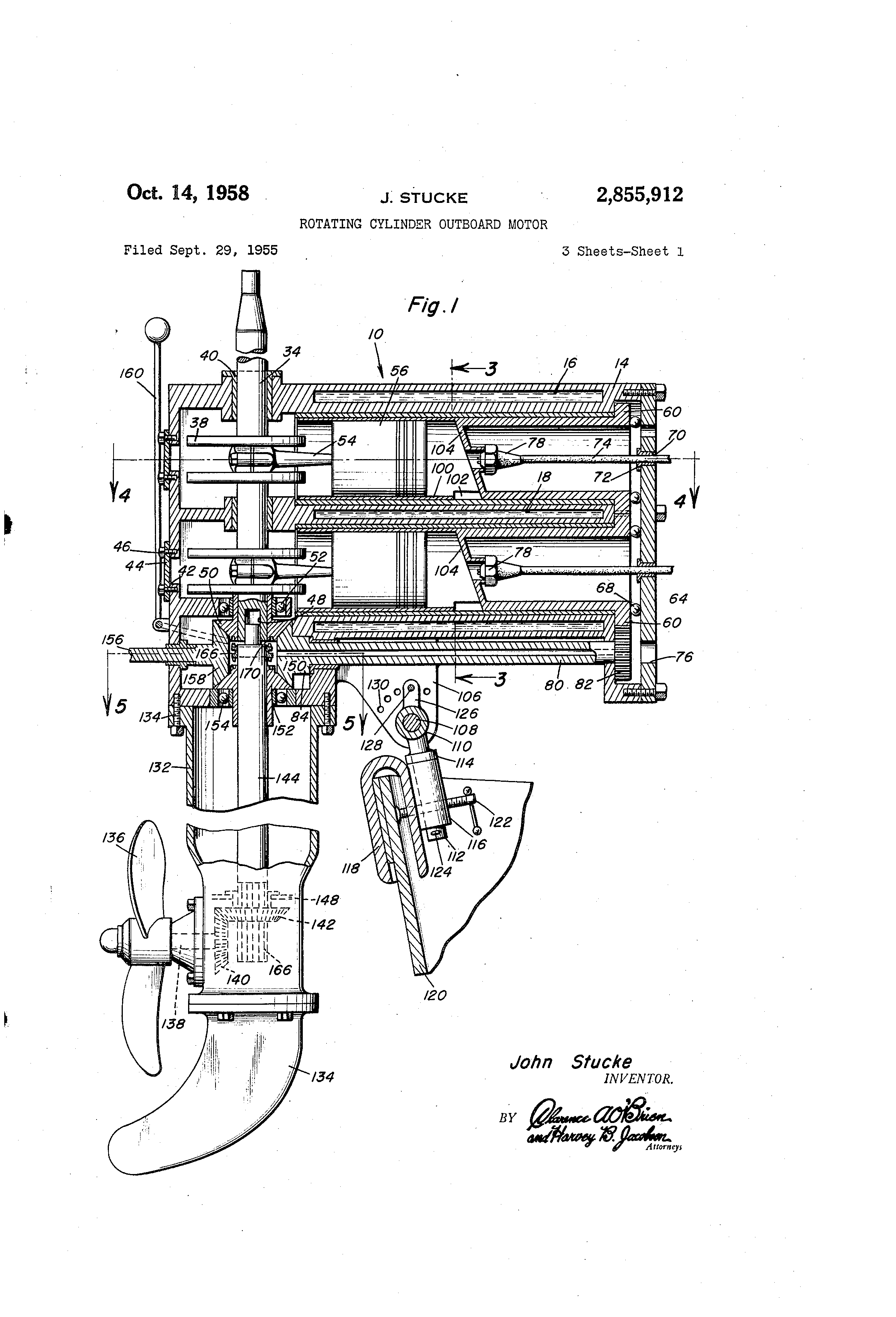 Patent Us2855912 Rotating Cylinder Outboard Motor Google Patents 134 F Head Engine Diagram Drawing
