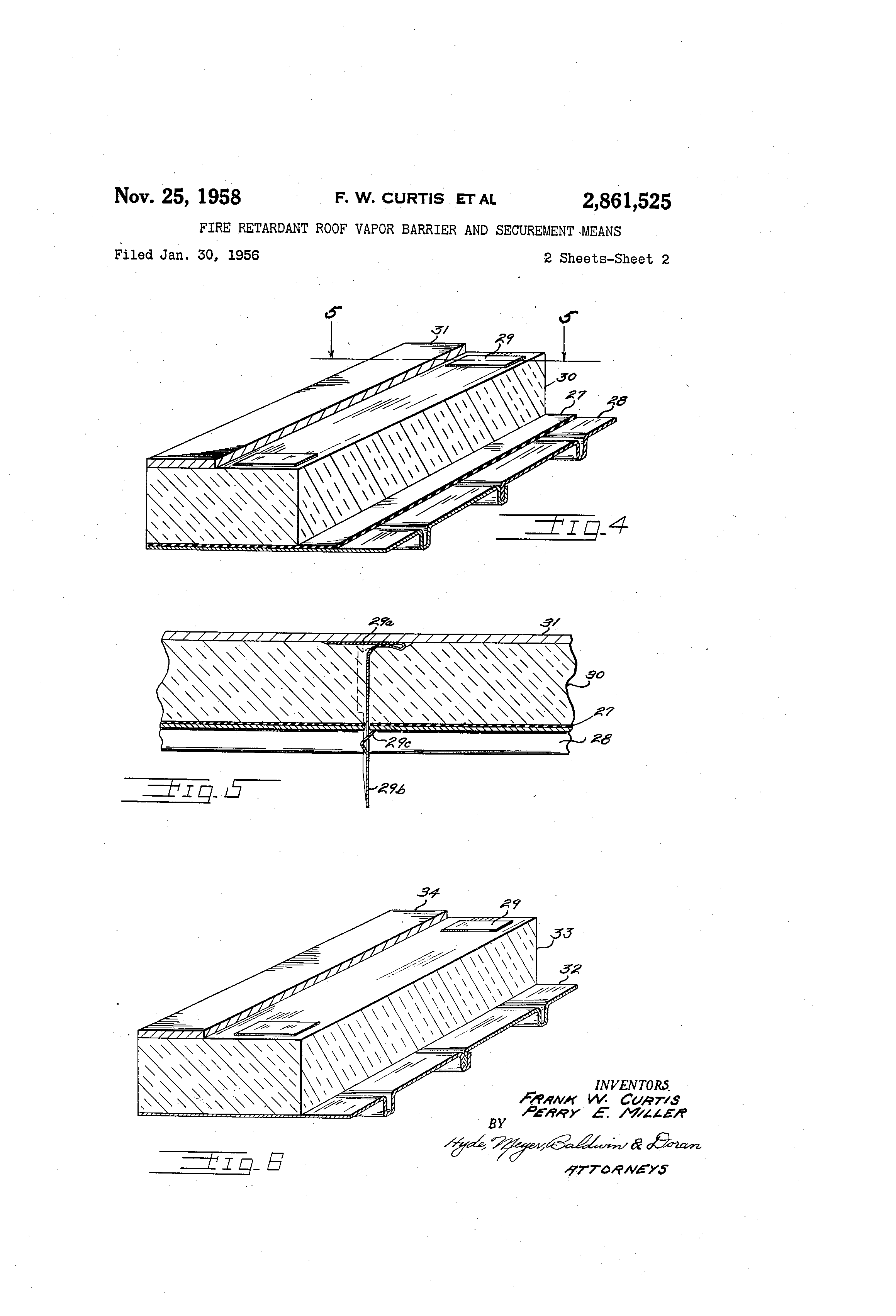 Patent us2861525 fire retardant roof vapor barrier and for Fireproof vapor barrier