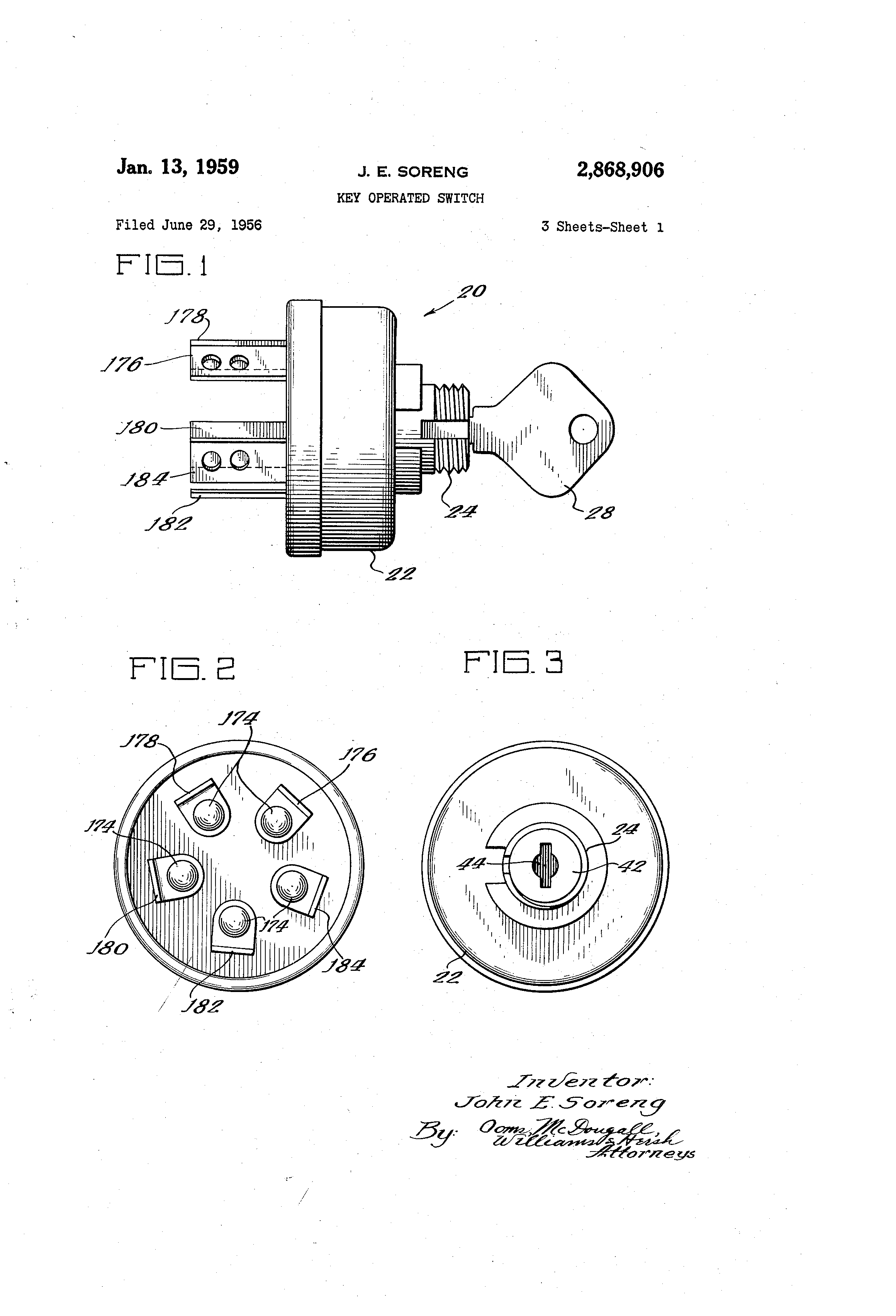 patent us2868906 - key operated switch