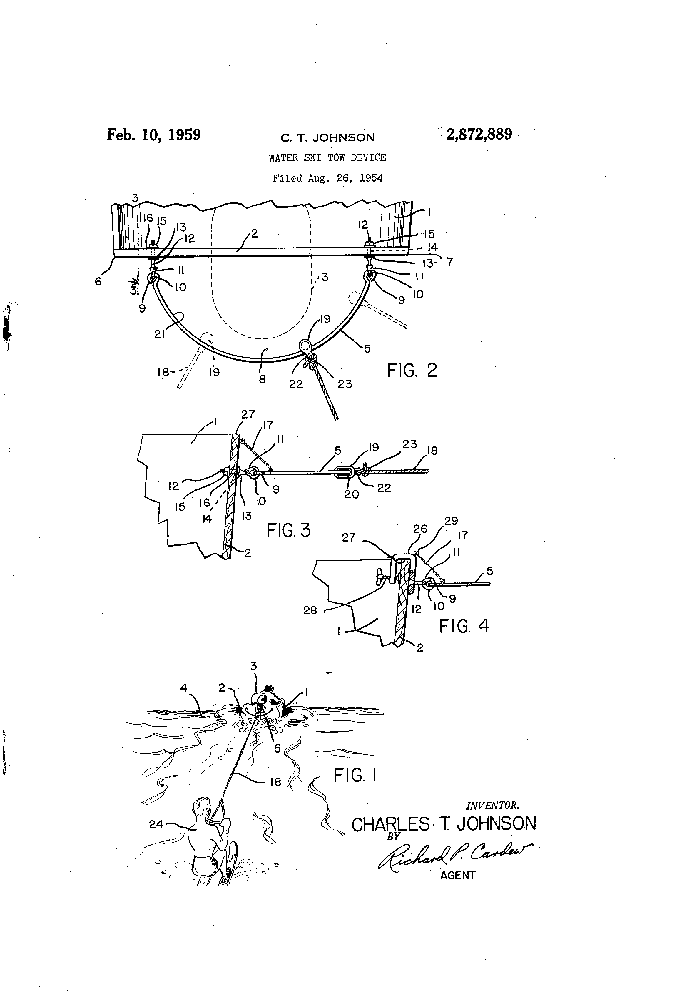 Patent Us2872889 Water Ski Tow Device Google Patents Harness Drawing