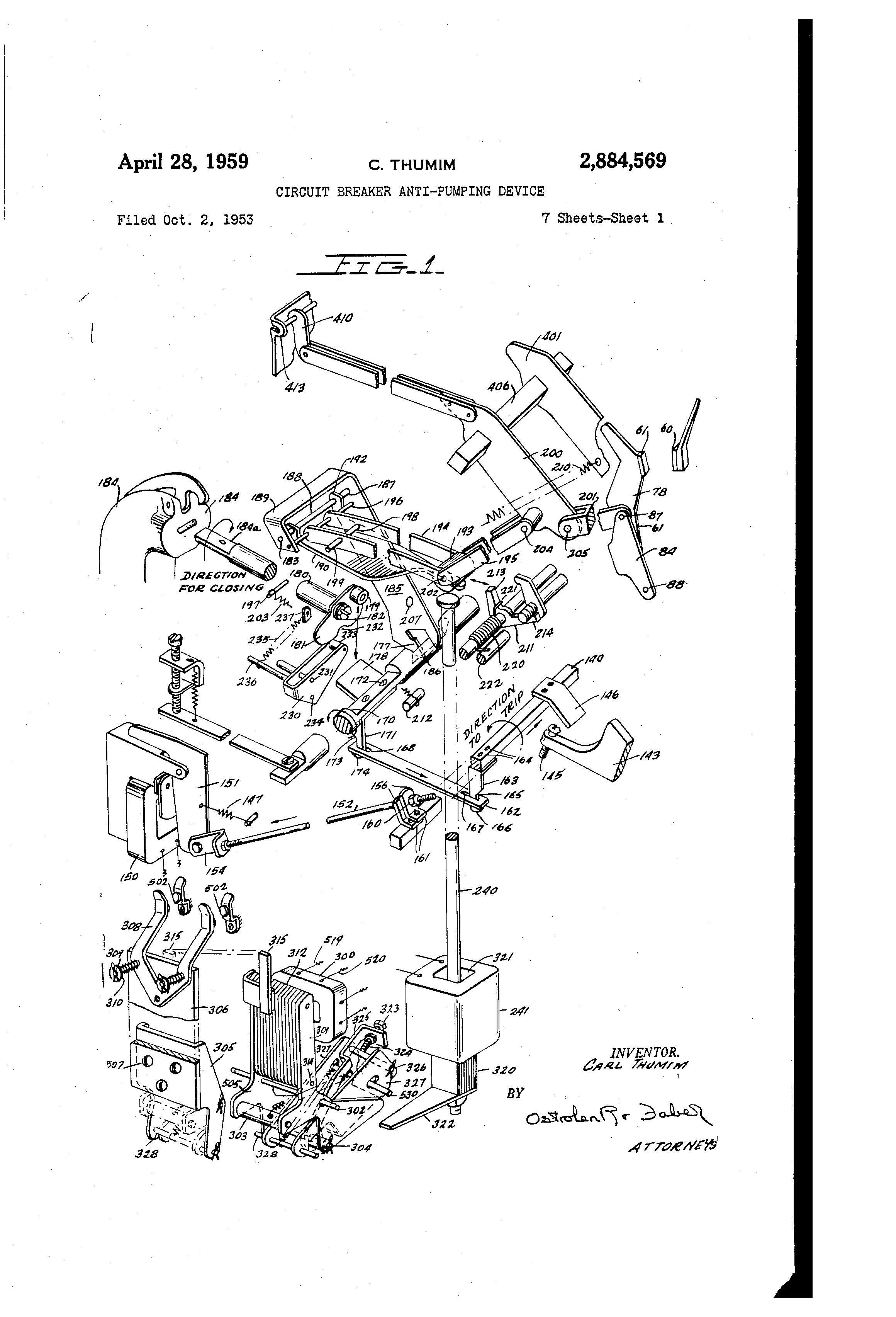 patent us2884569 - circuit breaker anti-pumping device