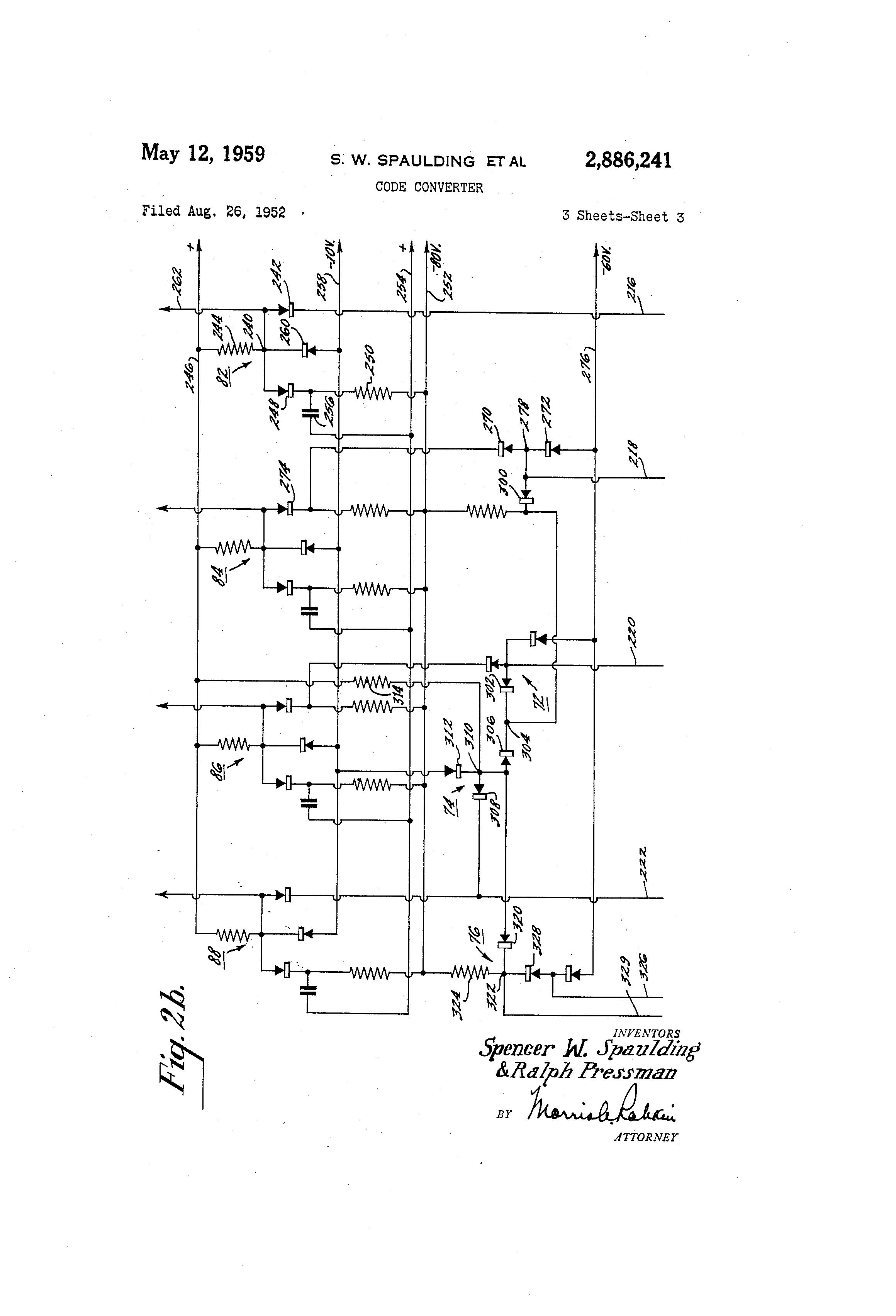 Patente Us2886241 Code Converter Google Patentes Binary Coded Decimal Negative Logic Patent Drawing